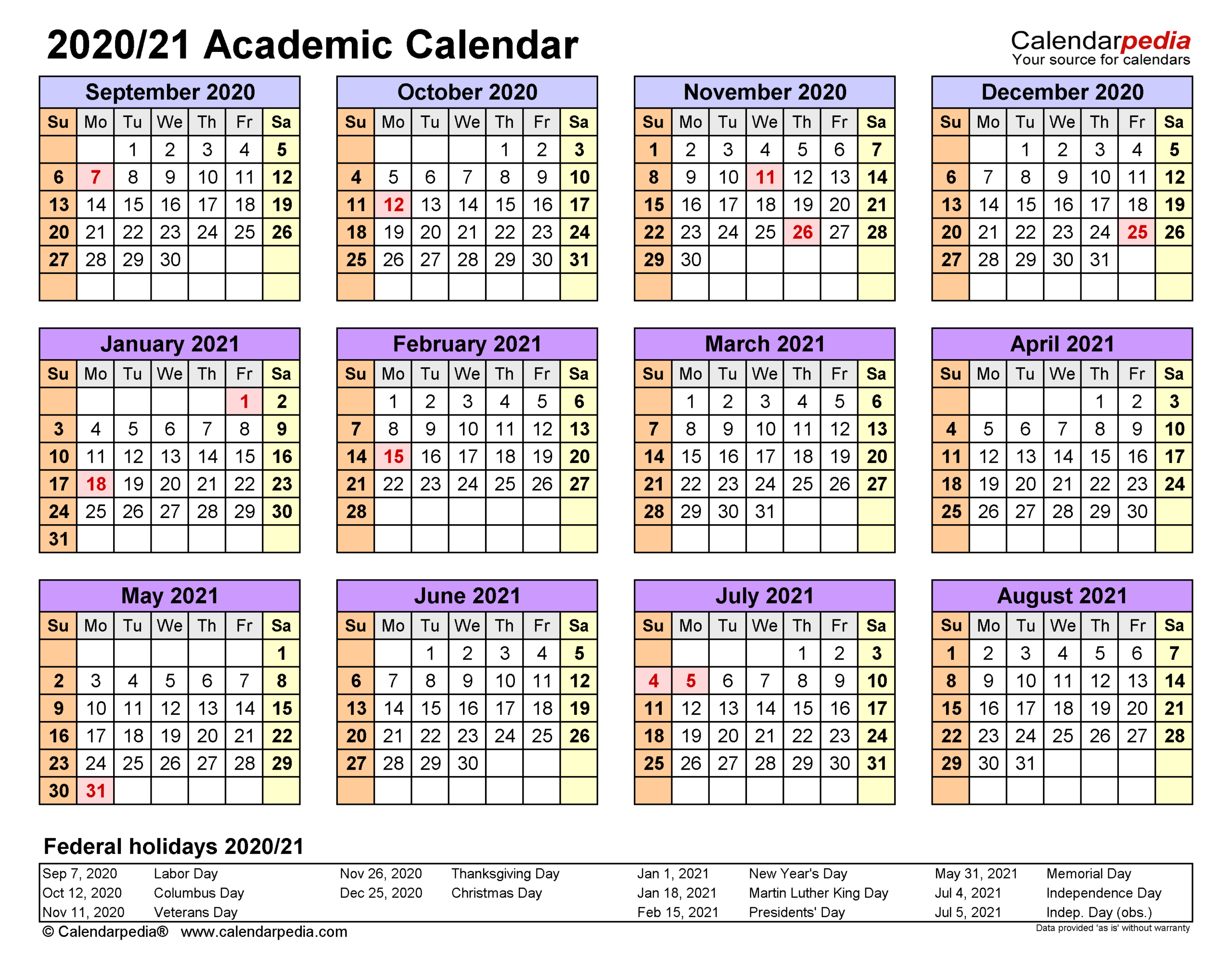 Academic Calendars 2020/2021 - Free Printable Word Templates with Vertex Academic Calendar