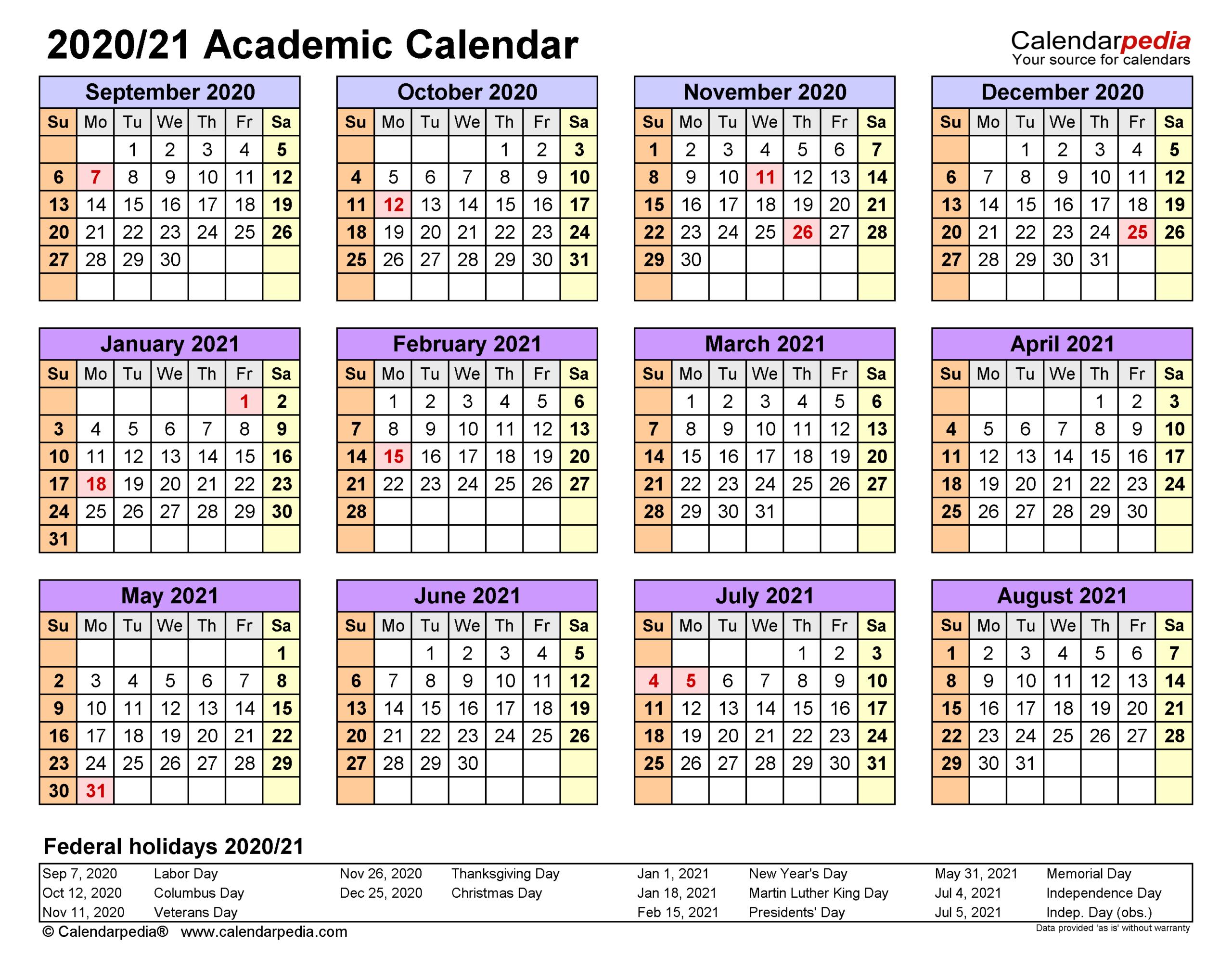 Academic Calendars 2020/2021 - Free Printable Word Templates with Vertex Academic Calendar