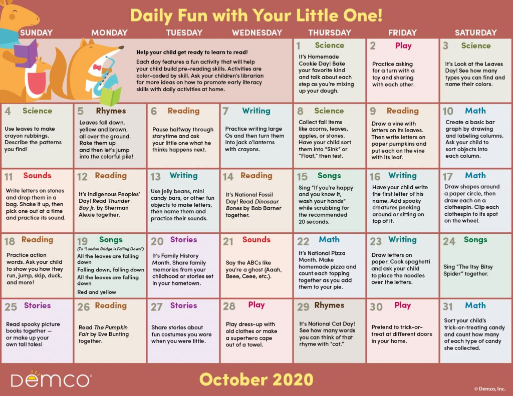 Activity Calendar Archives - Ideas & Inspiration From Demco inside Bring Up A Calendar For October