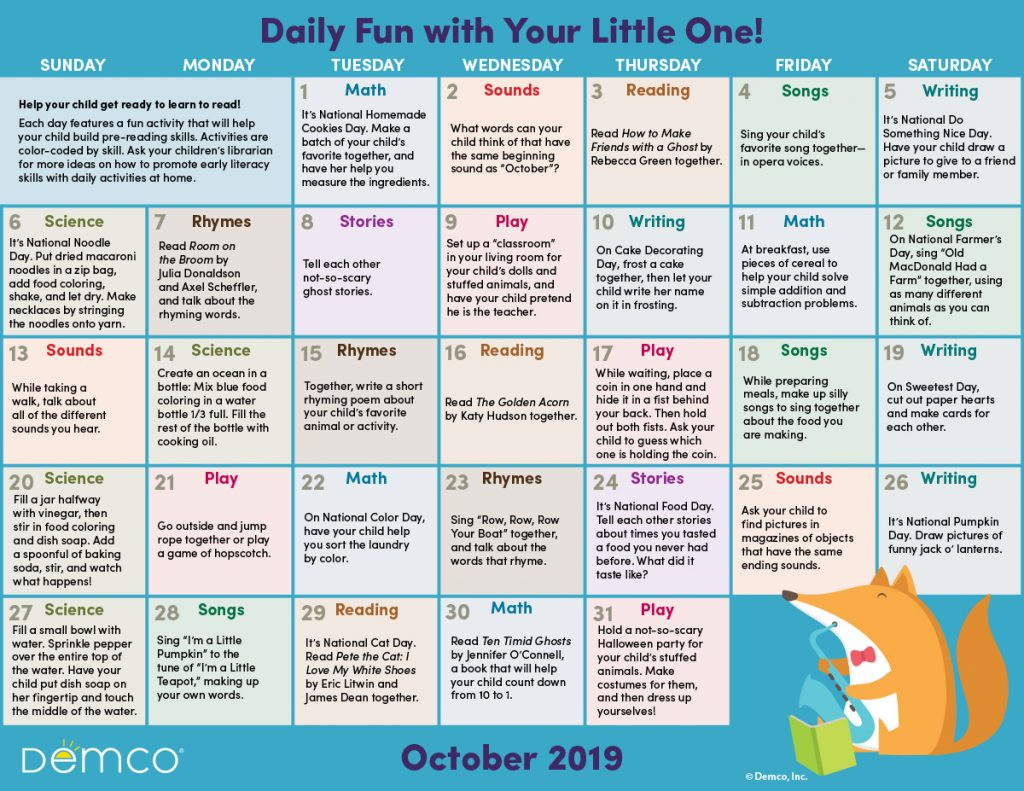 Activity Calendar Archives - Ideas & Inspiration From Demco within Bring Up A Calendar For October