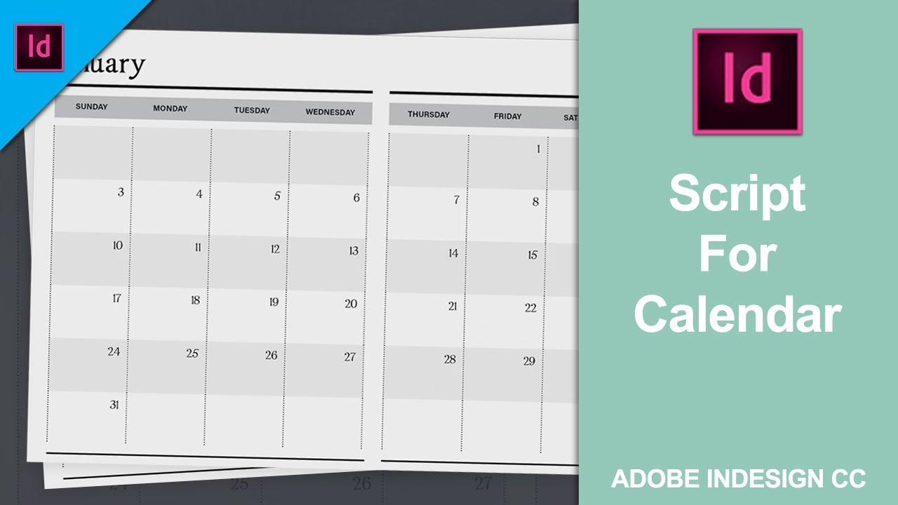 Add Or Install Script For Calendar In Adobe Indesign Cc 2018 [Link In The  Description] intended for Calendar Wizard Indesign 2021
