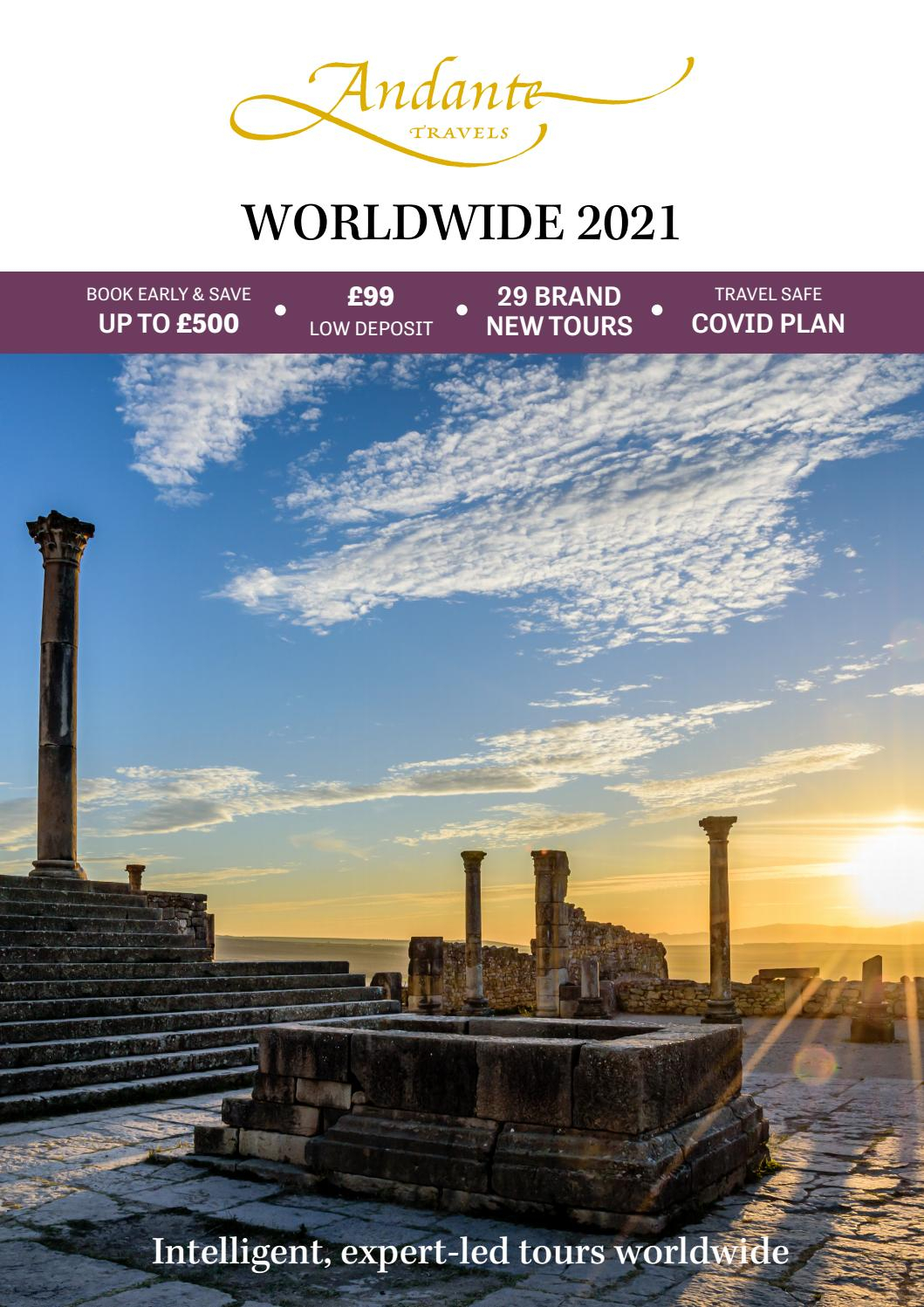 Andante Travels - 2021 Worldwide 1St Edition Brochure with Prehistoric Pocket Calendar 2021 With