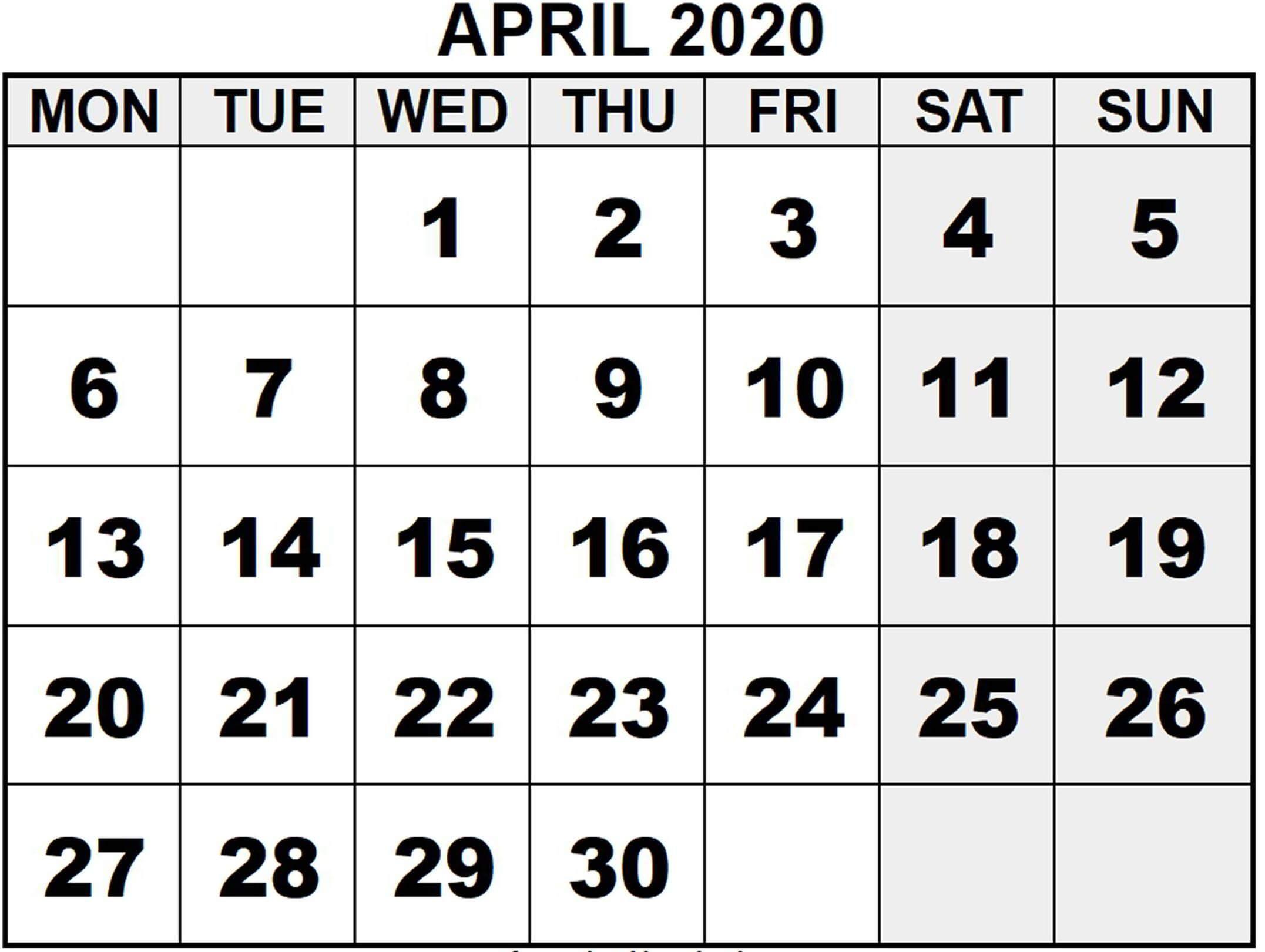 April 2020 Printable Calendar Template With Holidays - Web inside Large Number Calendar