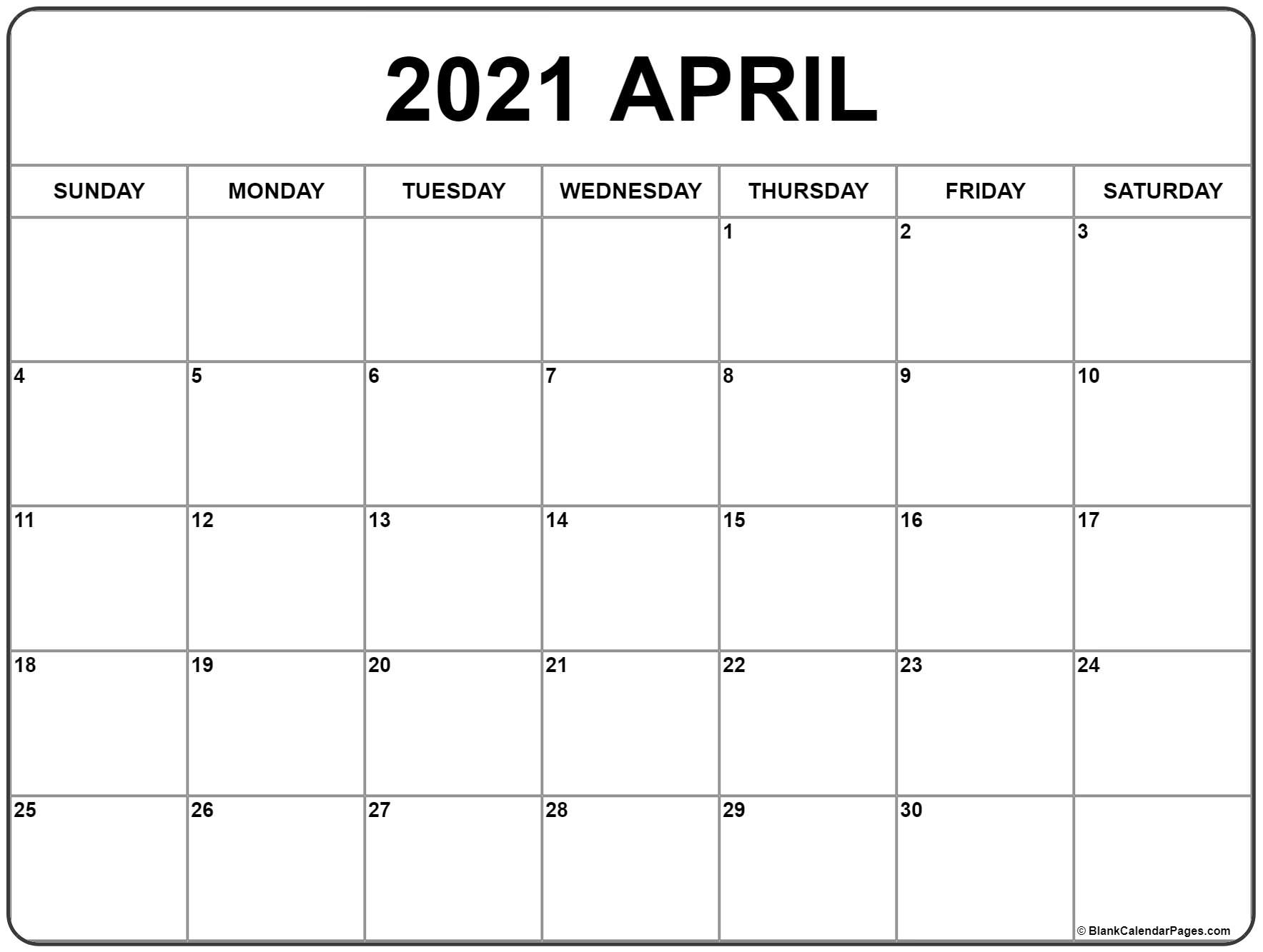 April 2021 Calendar | Free Printable Monthly Calendars for Fill In 2021 Calendar Pages Blank