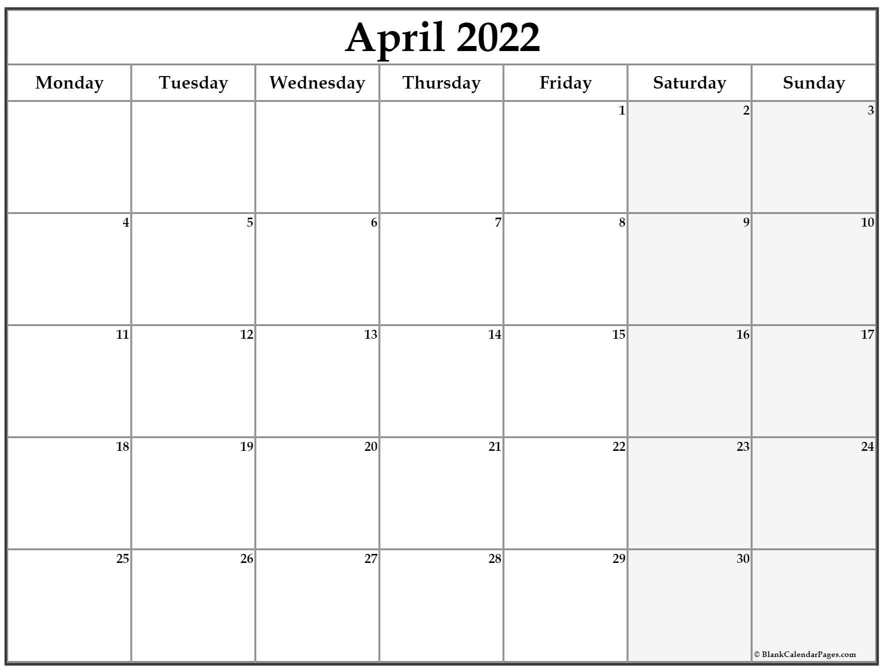 April 2022 Monday Calendar   Monday To Sunday inside Monday Through Sunday
