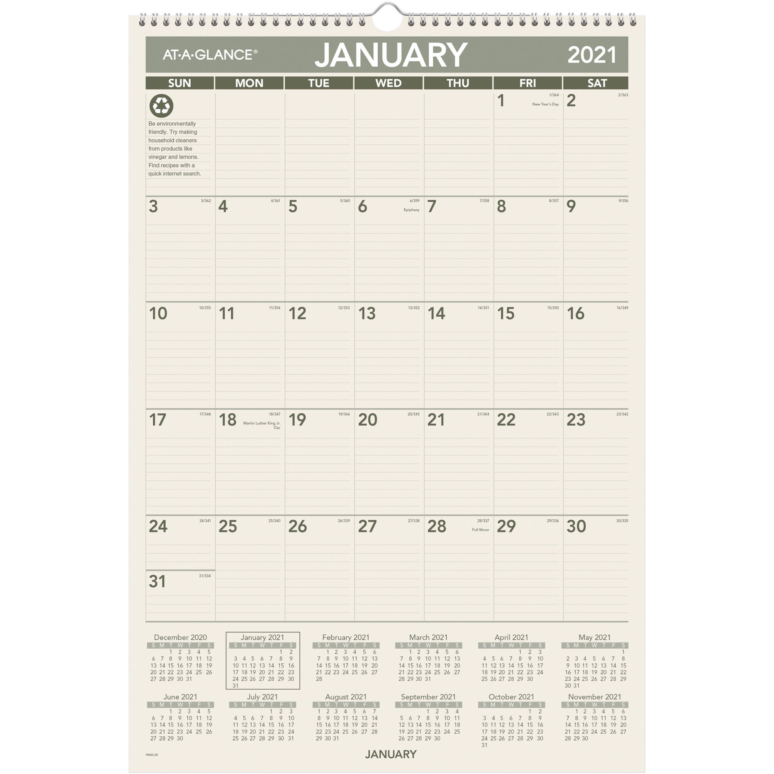 "At-A-Glance 100% Pcw Monthly Wall Calendar - Julian Dates - Monthly - 1  Year - January 2021 Till December 2021 - 1 Month Single Page Layout - 15  1/2"" for 2021 2021 2 Year Monthly Planner Live"