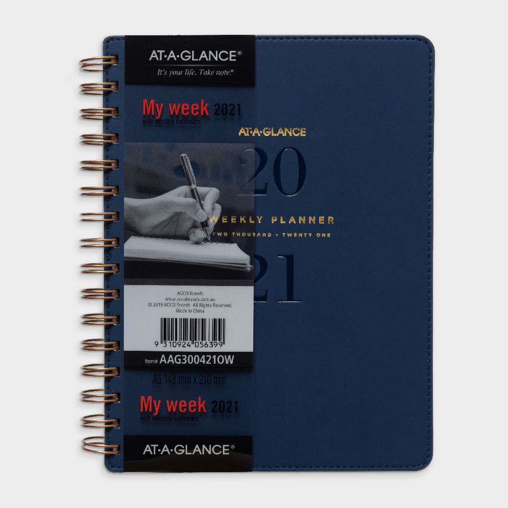 At-A-Glance A5 Week To View 2021 Signature Diary Brown with Diary 2021: Weekly And Monthly Year