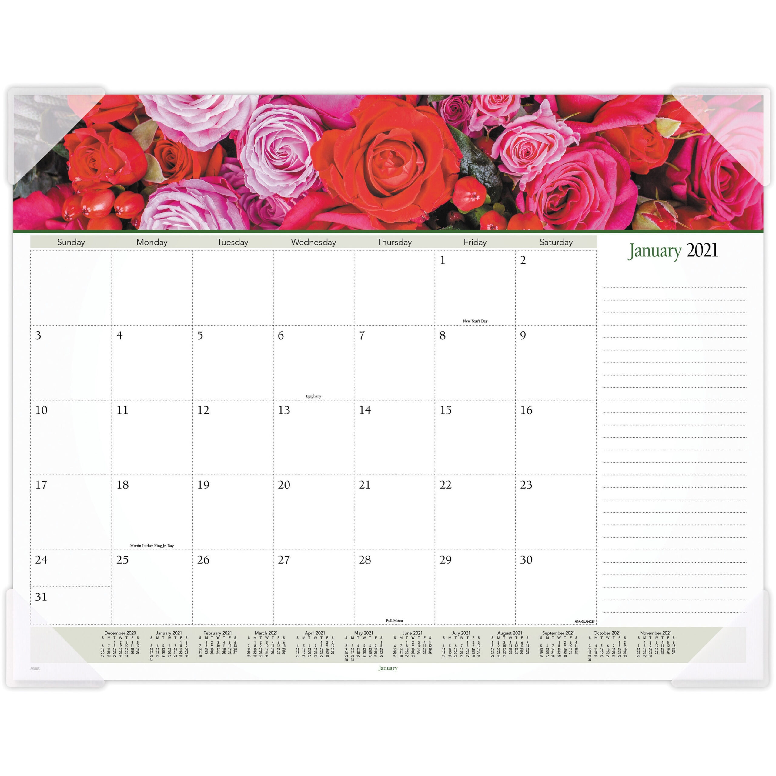 At-A-Glance Panoramic Floral Image Monthly Desk Pad - Julian Dates -  Monthly - 1 Year - January 2021 Till December 2021 - 1 Month Single Page  Layout - regarding Tropical Floral: Calendar 2021 Monthly