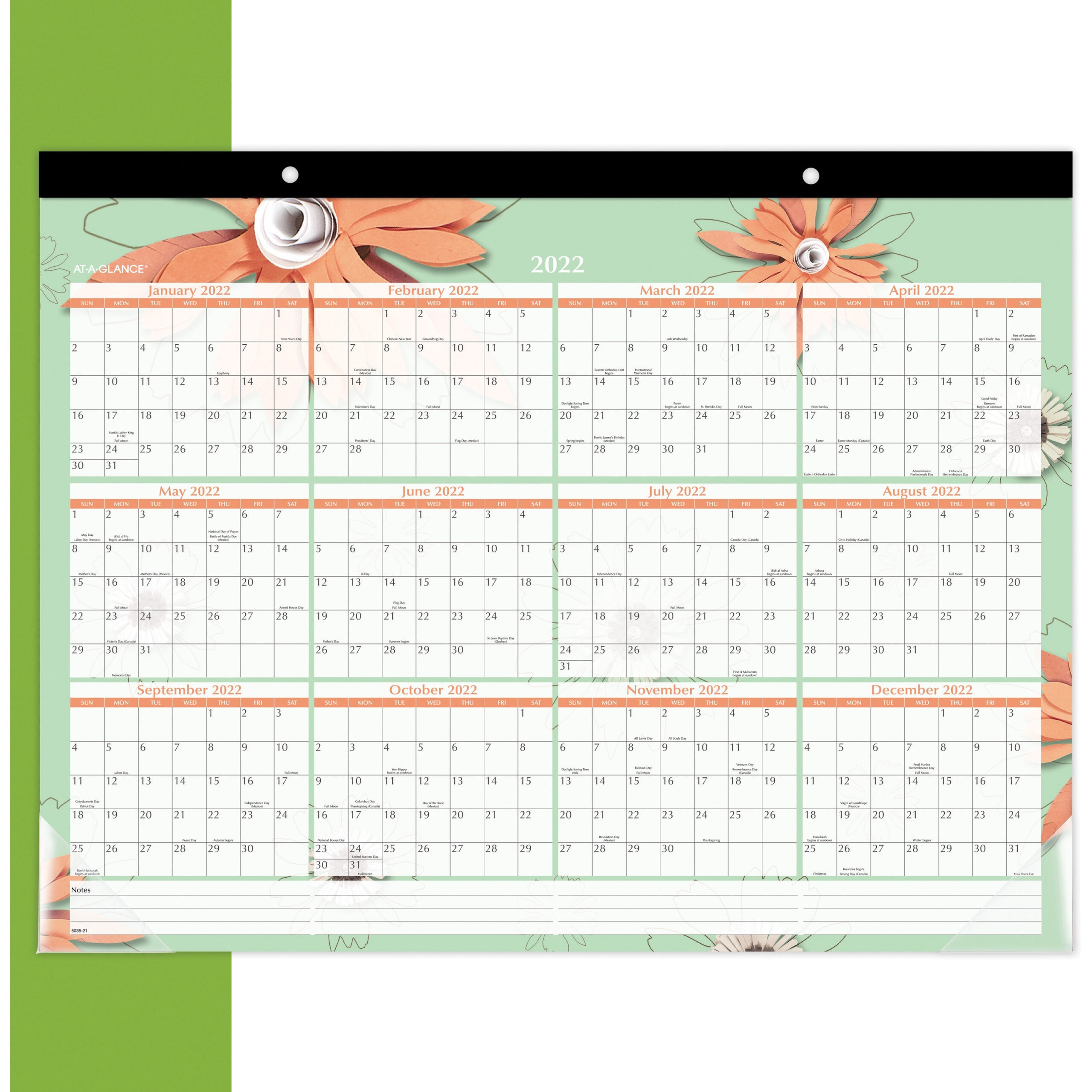 At-A-Glance Paper Flowers Monthly Desk Pad - Julian Dates regarding Julian Date Calendar 2021