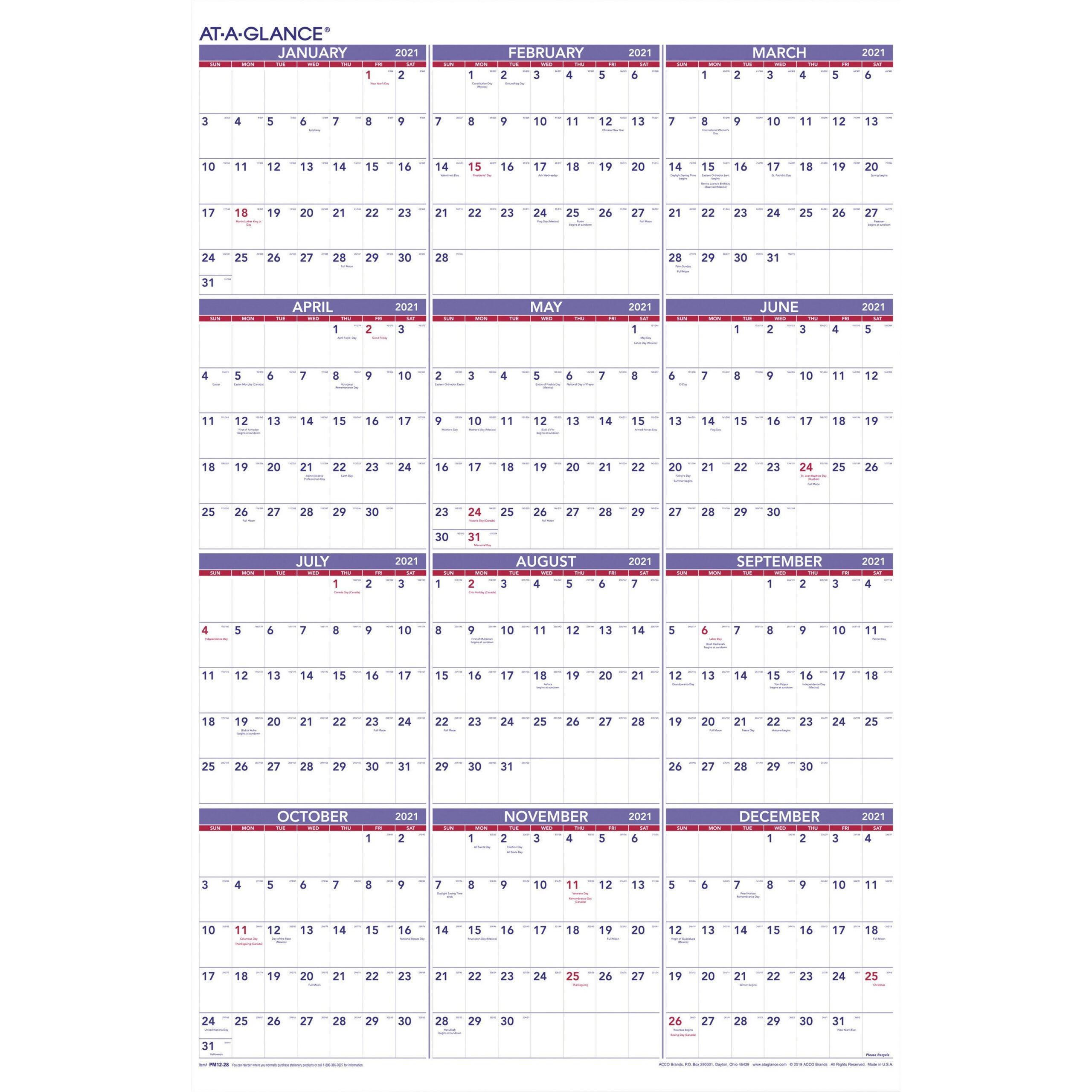 At-A-Glance Yearly Wall Calendar - Julian Dates - Yearly - 1 throughout Julian Date Calendar 2021