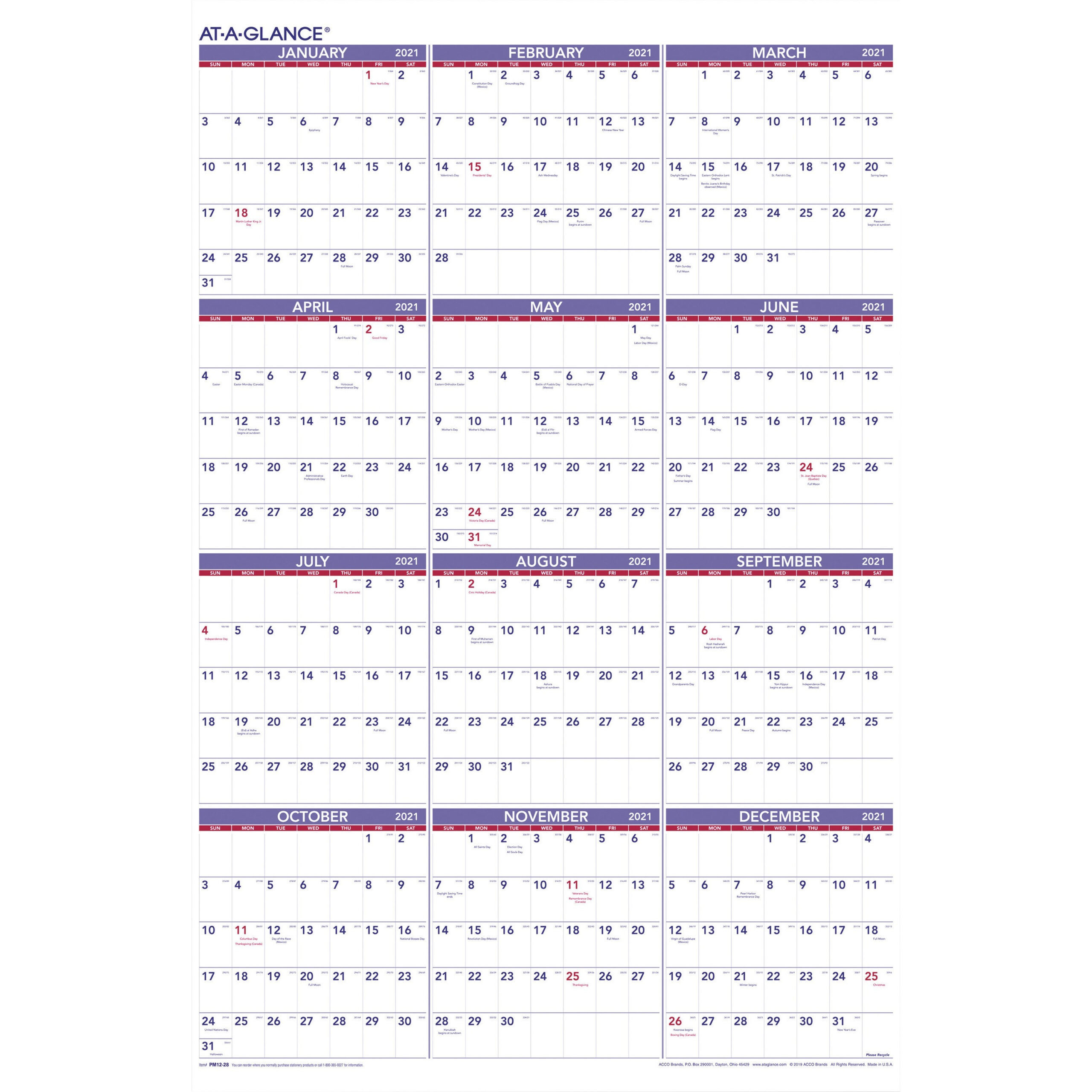 At-A-Glance Yearly Wall Calendar pertaining to 2021 Julian Calendar