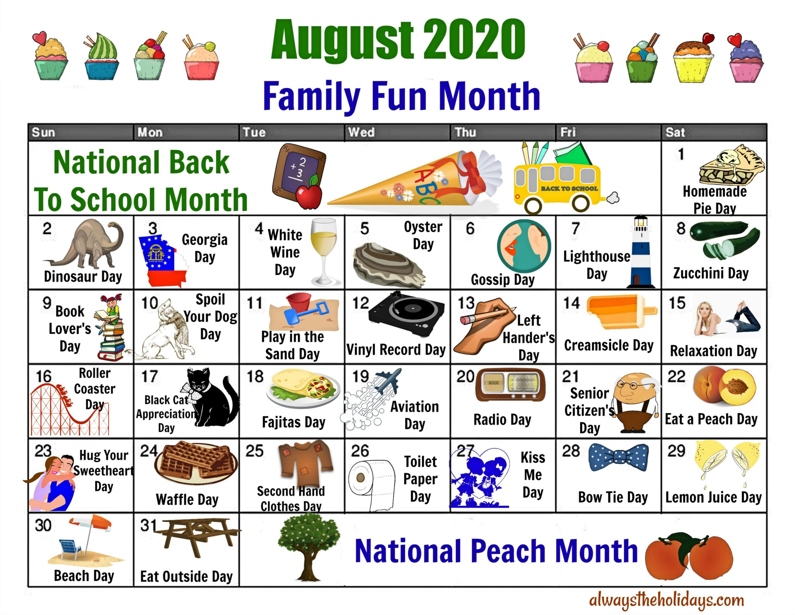 August National Day Calendar - Free Printable Of National Days regarding Printable National Day Calendar 2021