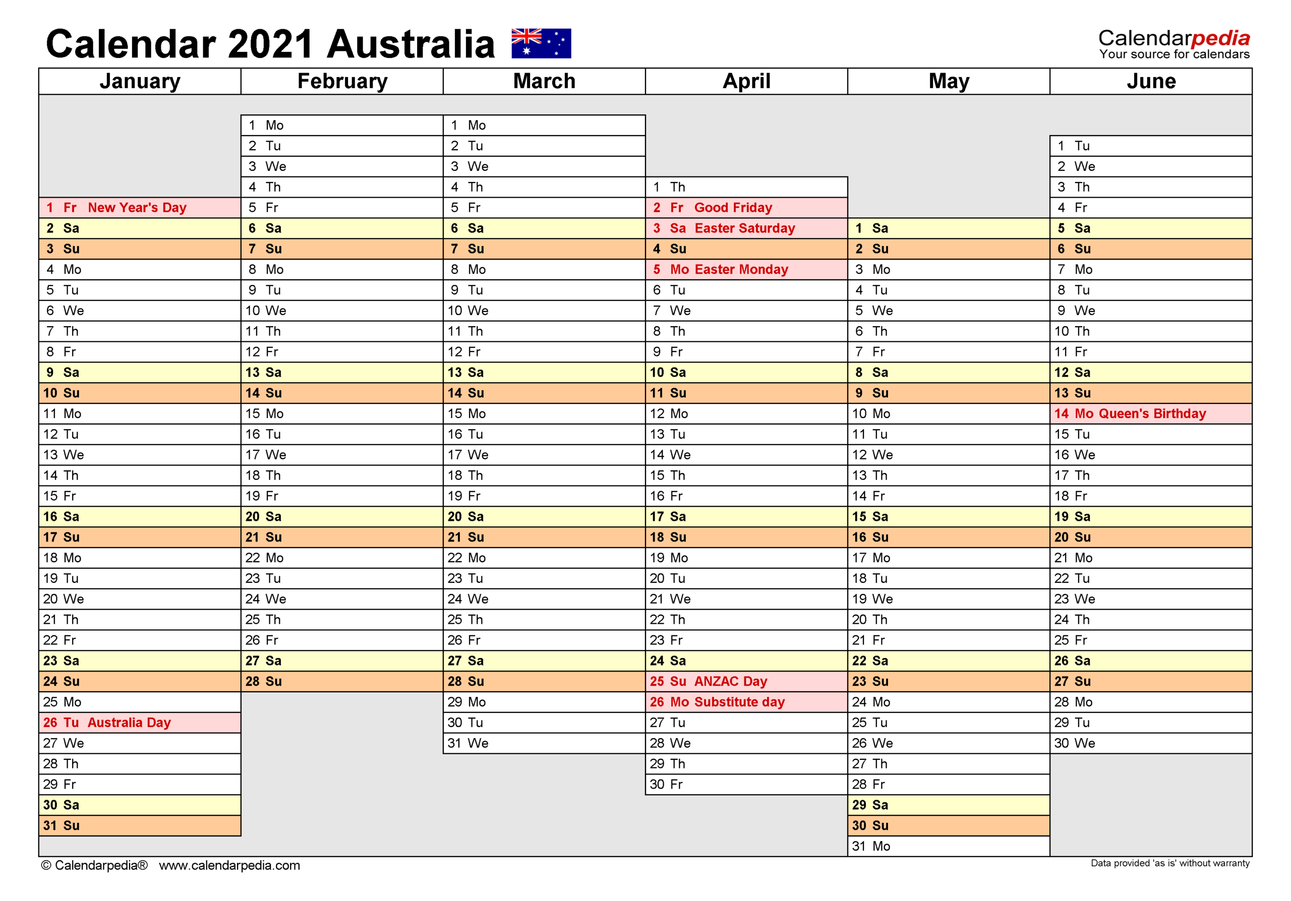Australia Calendar 2021 - Free Printable Pdf Templates intended for 2021-2021 Monthly Two Year Planner: