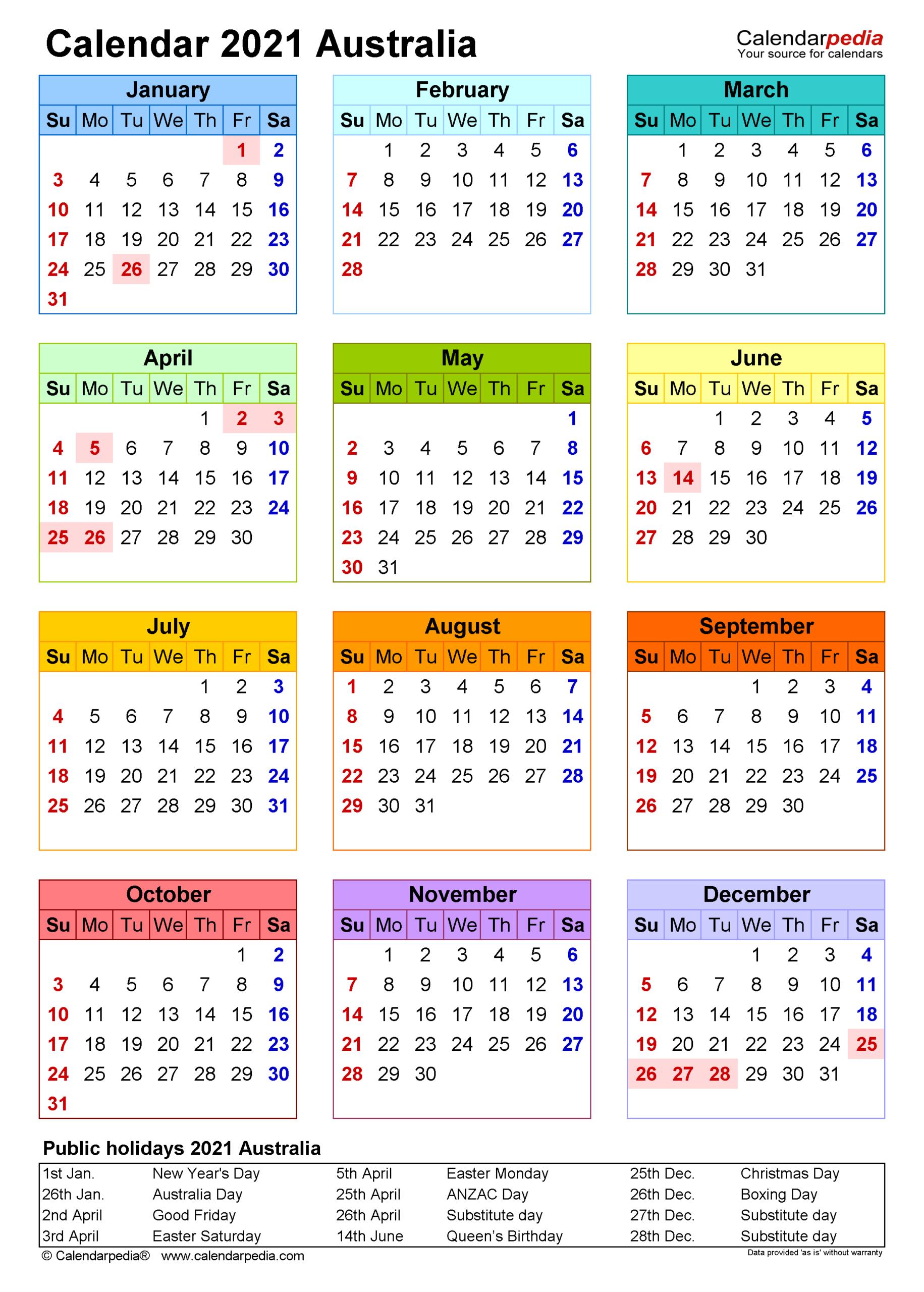 Australia Calendar 2021 - Free Printable Pdf Templates intended for Printable Pocket Size Calendar 2021