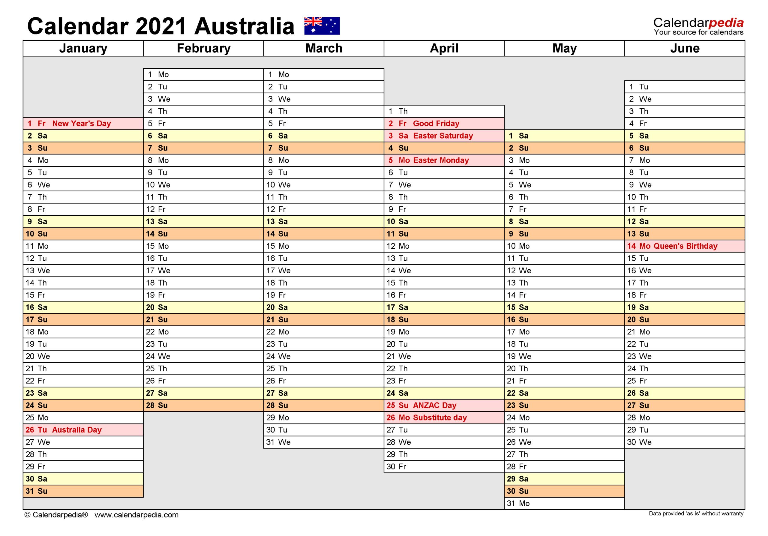 Australia Calendar 2021 - Free Printable Pdf Templates throughout 2021-2021 Two Year Planner: Calendar