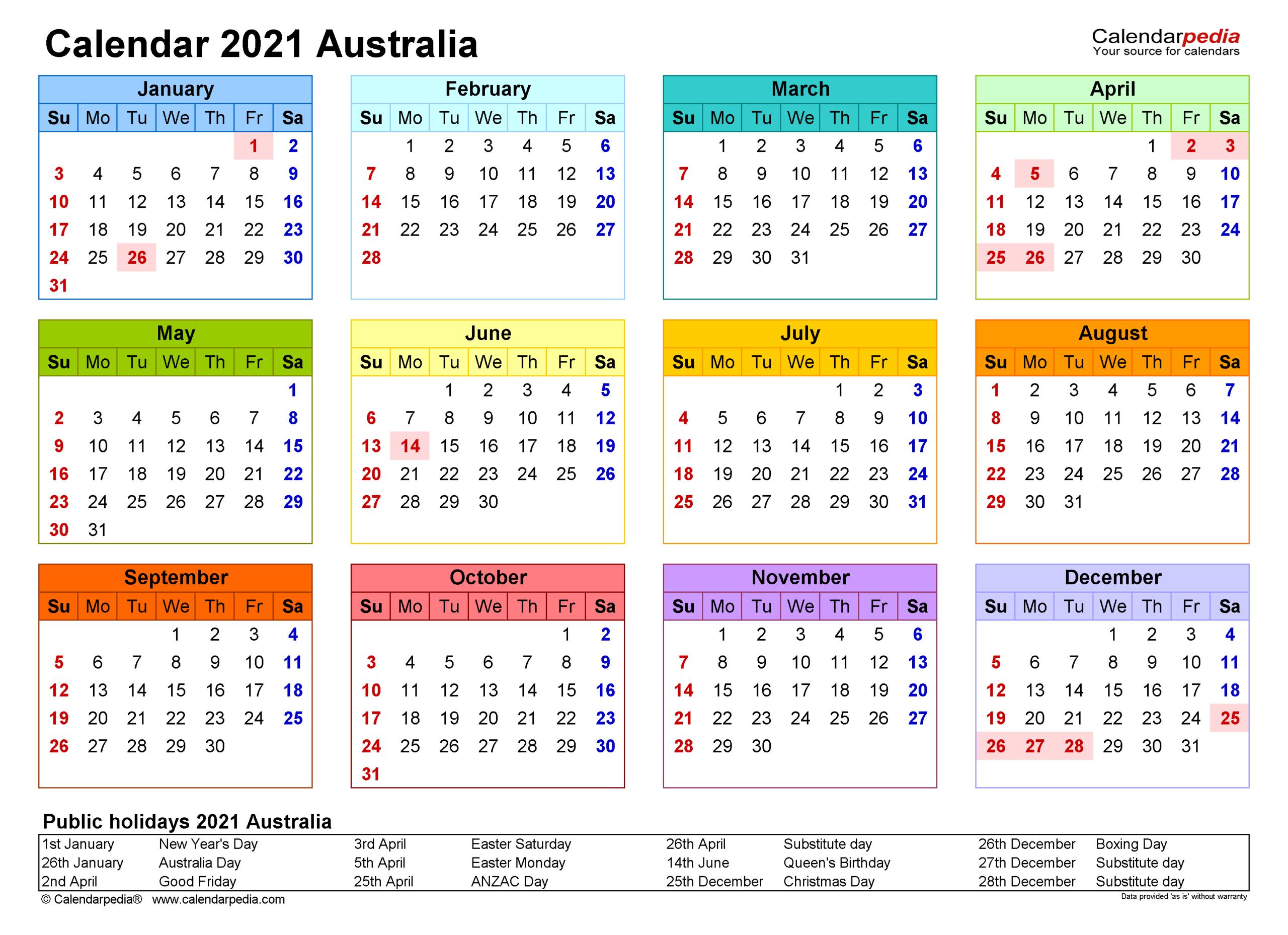 Australia Calendar 2021 - Free Printable Word Templates regarding Calendar Fill In 2021