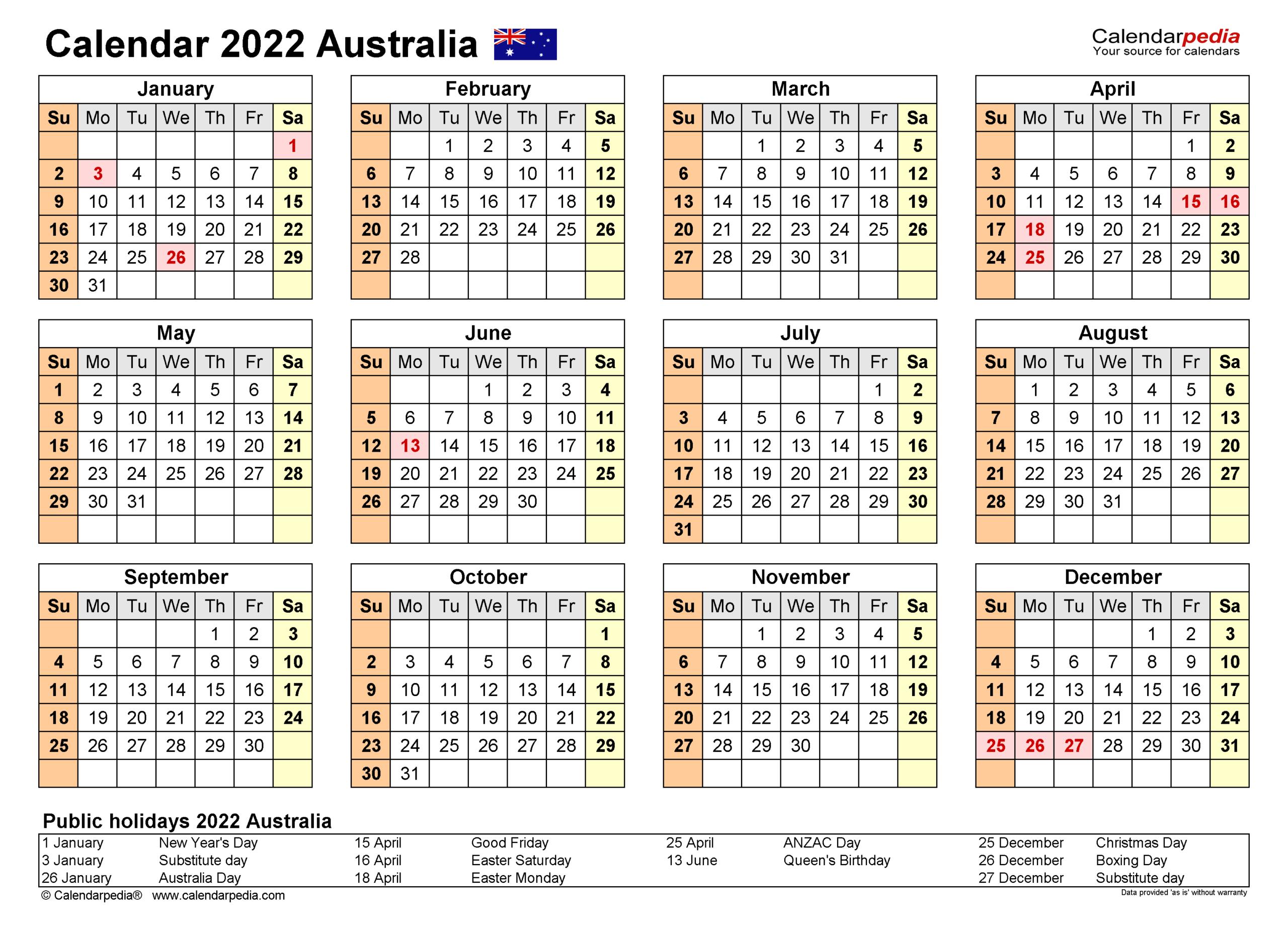 Australia Calendar 2022 - Free Printable Excel Templates in 2021-2022 Three Year Planner: 3 Year