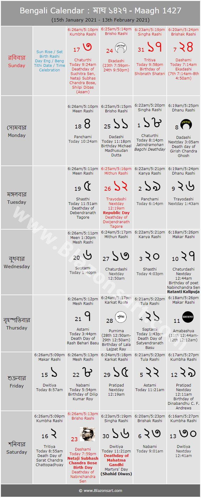 Bengali Calendar - Maagh 1427 : বাংলা intended for Sunday To Saturday Year Calendar 2021/21