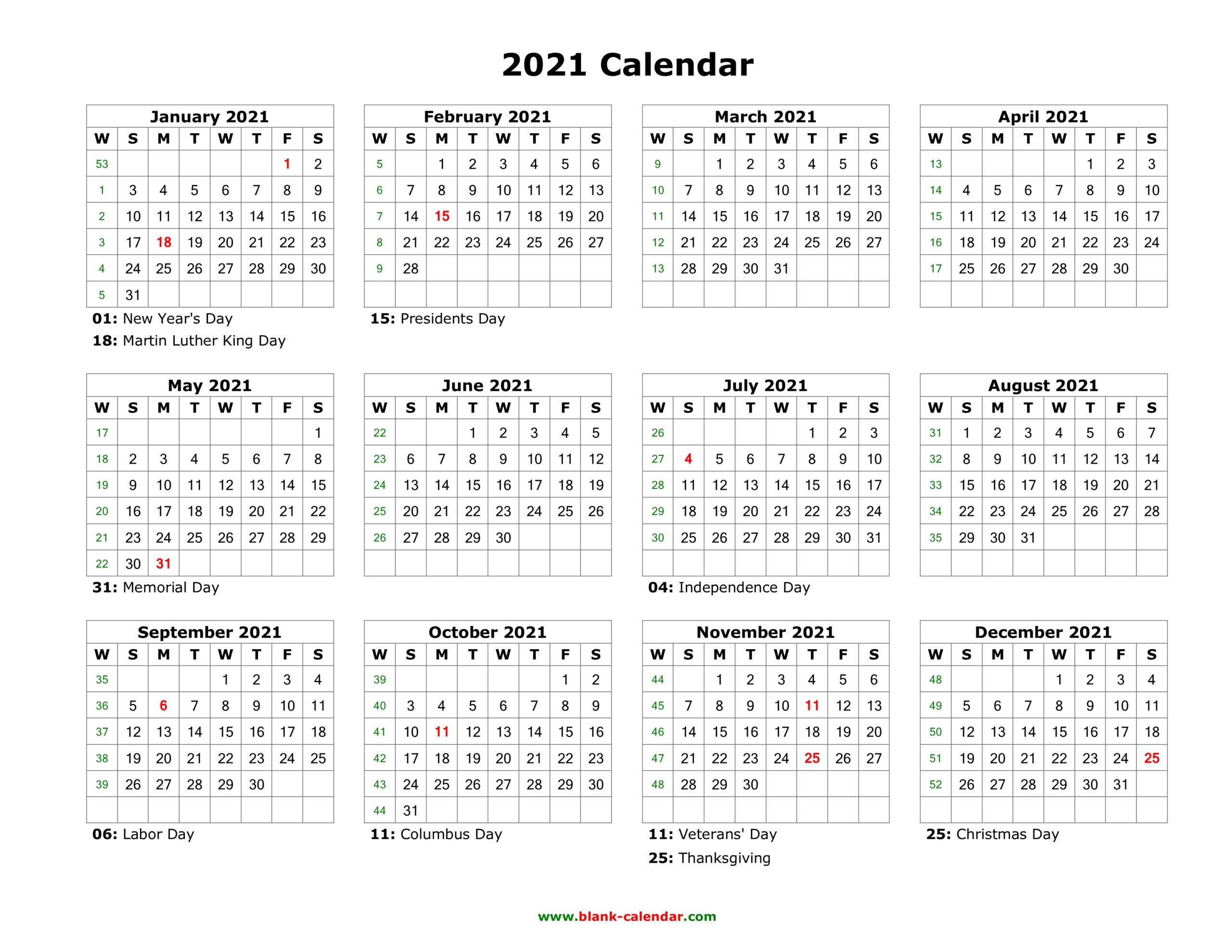 Blank Calendar 2021 | Free Download Calendar Templates throughout Fill In Calendar 2021 Printable