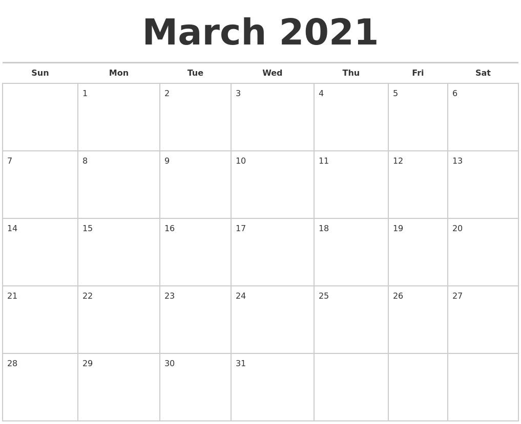 Blank Calendar 2021 March – Allowed In Order To My Blog throughout Monthly Fill In Printable Calendar 2021