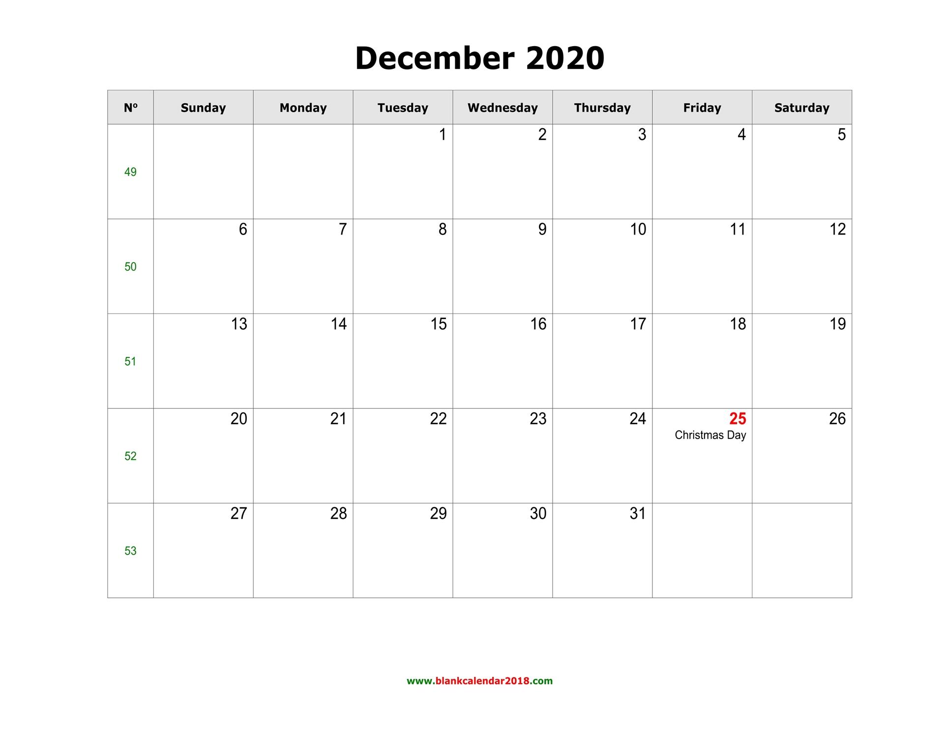 Blank Calendar For December 2020 in Calendar November December January Space To Write At The Side