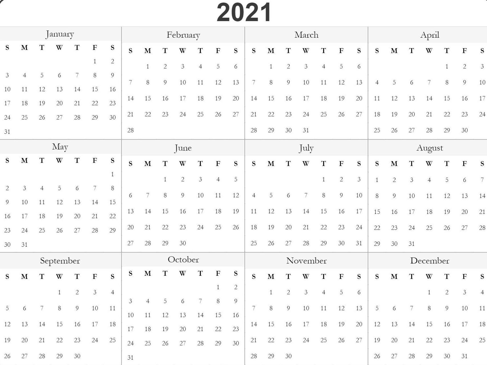 Blank Printable 2021 Calendar Template In 2020 | Free within Print Free 2021 Calendar Without Downloading