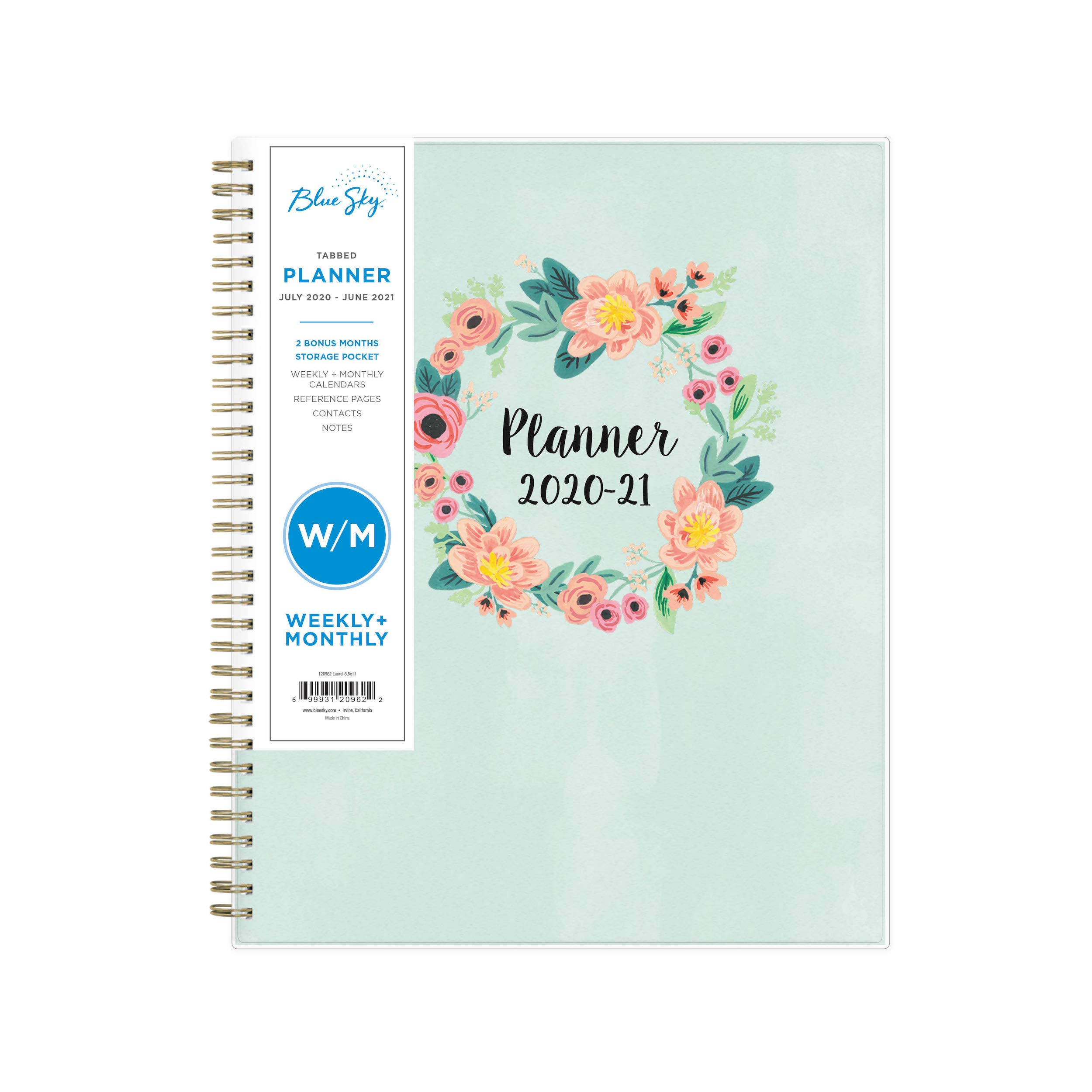 Blue Sky 2020-2021 Academic Year Weekly & Monthly Planner inside Planner 2021: Year Monthly Pocket