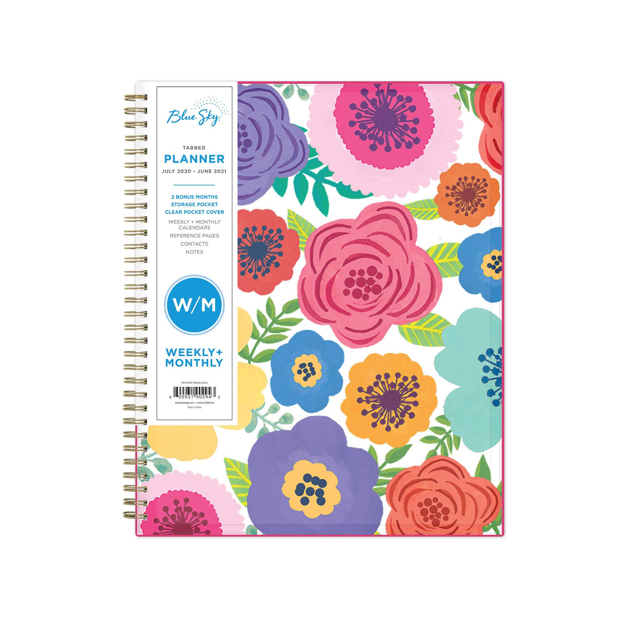 Blue Sky 2020-2021 Academic Year Weekly & Monthly Planner regarding Tropical Floral: Calendar 2021 Monthly