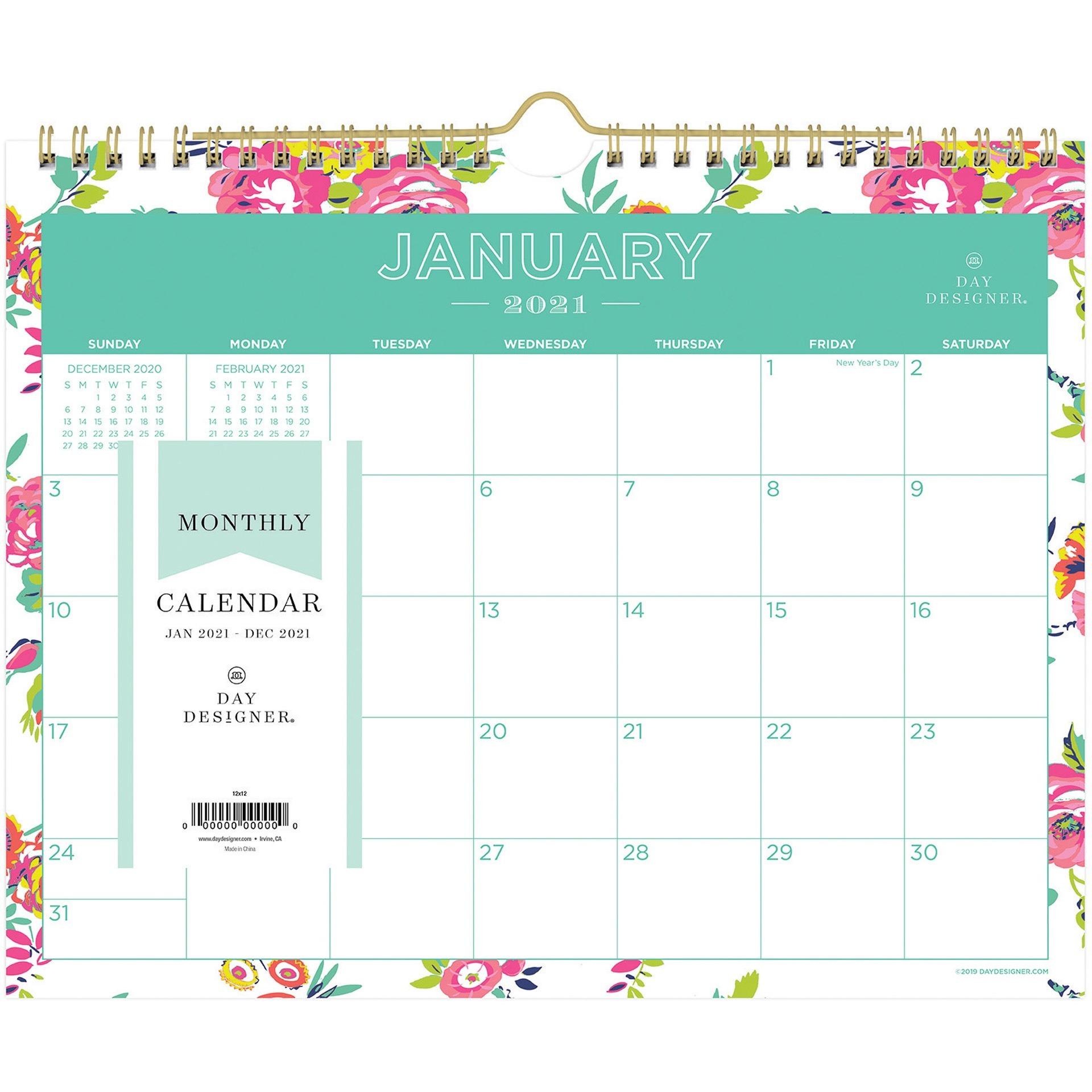"Blue Sky Day Designer White Floral Wall Calendar - Julian Dates - Monthly -  1 Year - January 2021 Till December 2021 - 8 3/4"" X 11"" Sheet Size - Twin pertaining to Julian Date Calendar 2021"