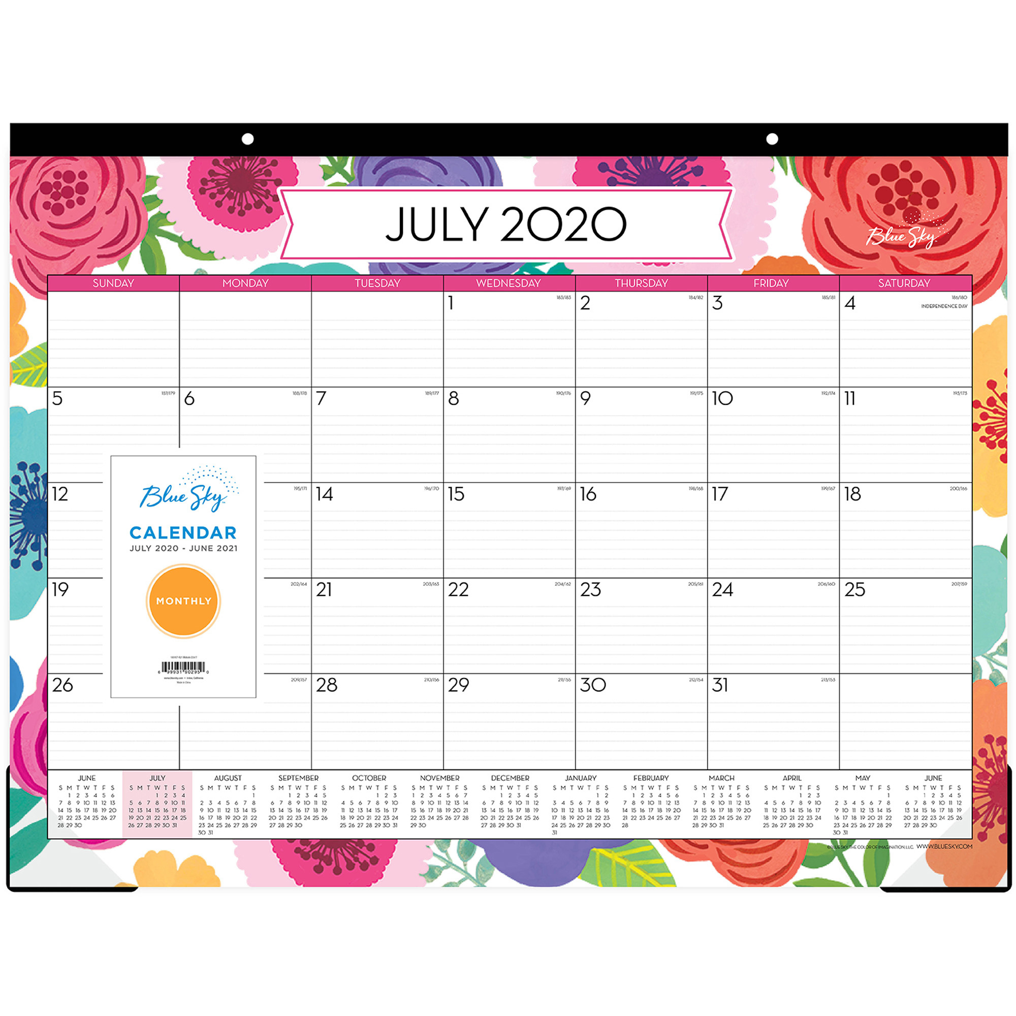 Blue Sky Mahalo Monthly Desk Pad in Tropical Floral: Calendar 2021 Monthly
