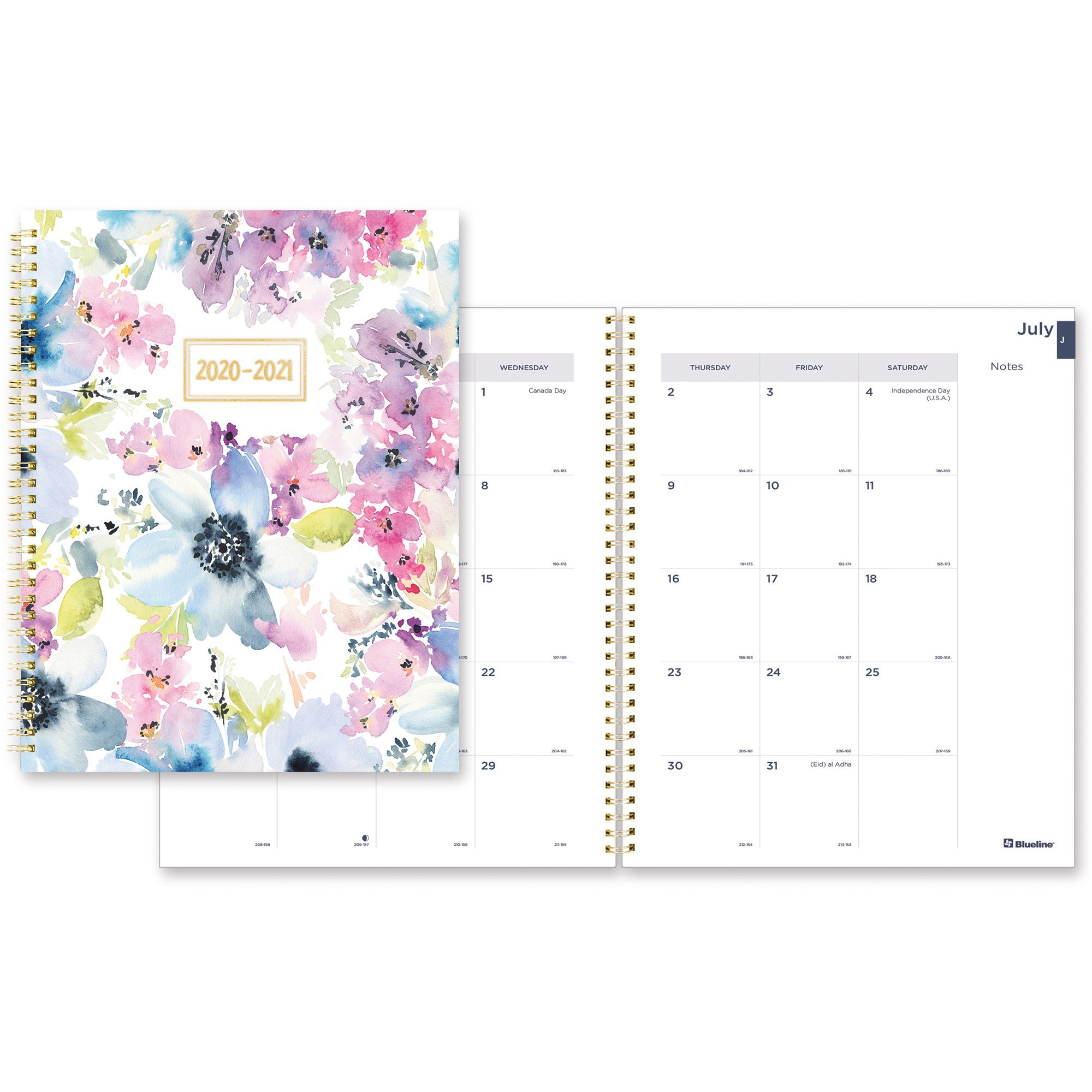 Blueline Floral Academic Monthly Planner - Academic - Monthly - 1.2 Year -  July 2020 Till August 2021 - 1 Month Double Page Layout - Twin Wire - Desk intended for Academic Diary August 2021 To August