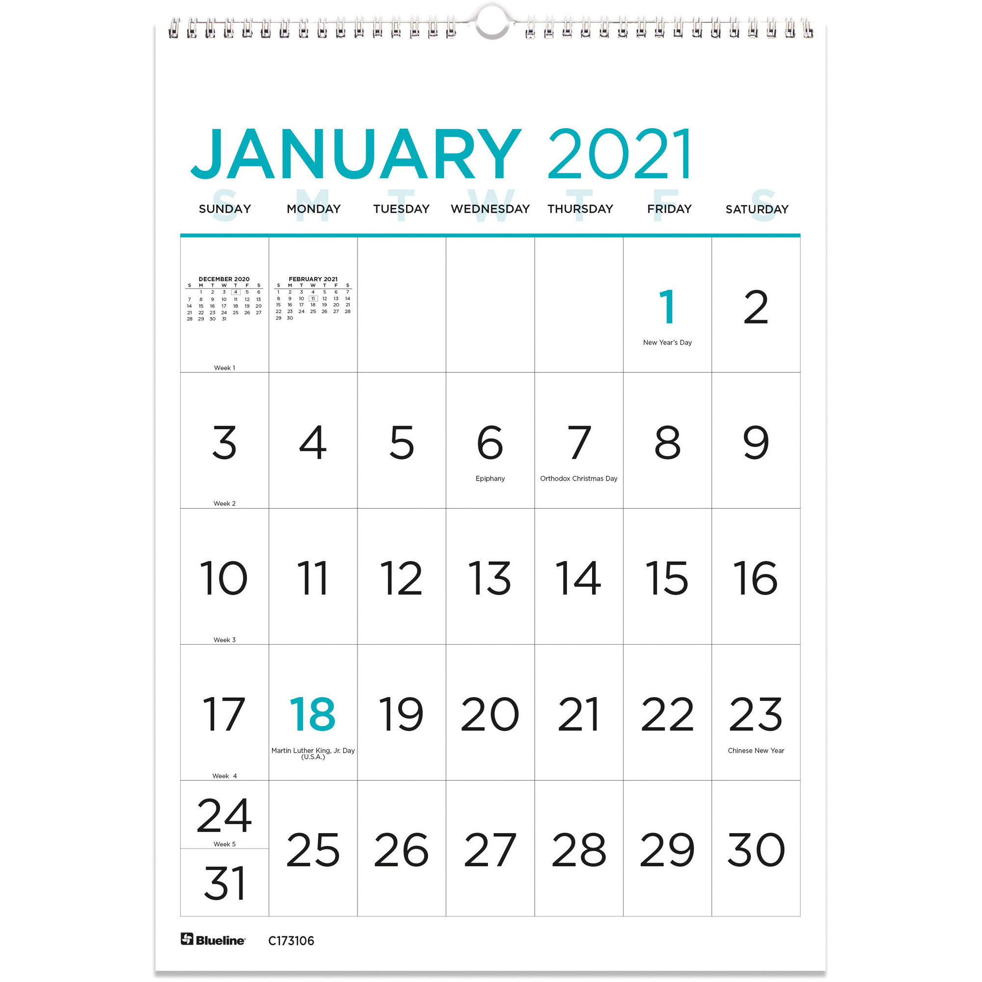 Blueline Large Print Wall Calendar - Monthly - 1 Year with 2021 Large Print Calendar Monthly