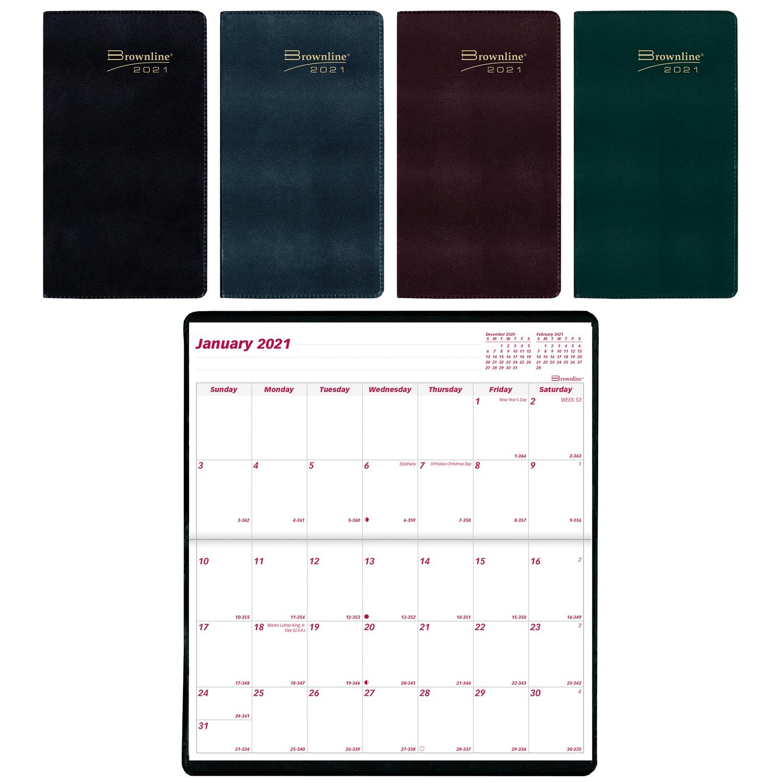 "Brownline 2-Year Monthly Pocket Planner, 6 1/2"" X 3 1/2 pertaining to 2021-2021 2 Year Pocket Planner: 2 Year"