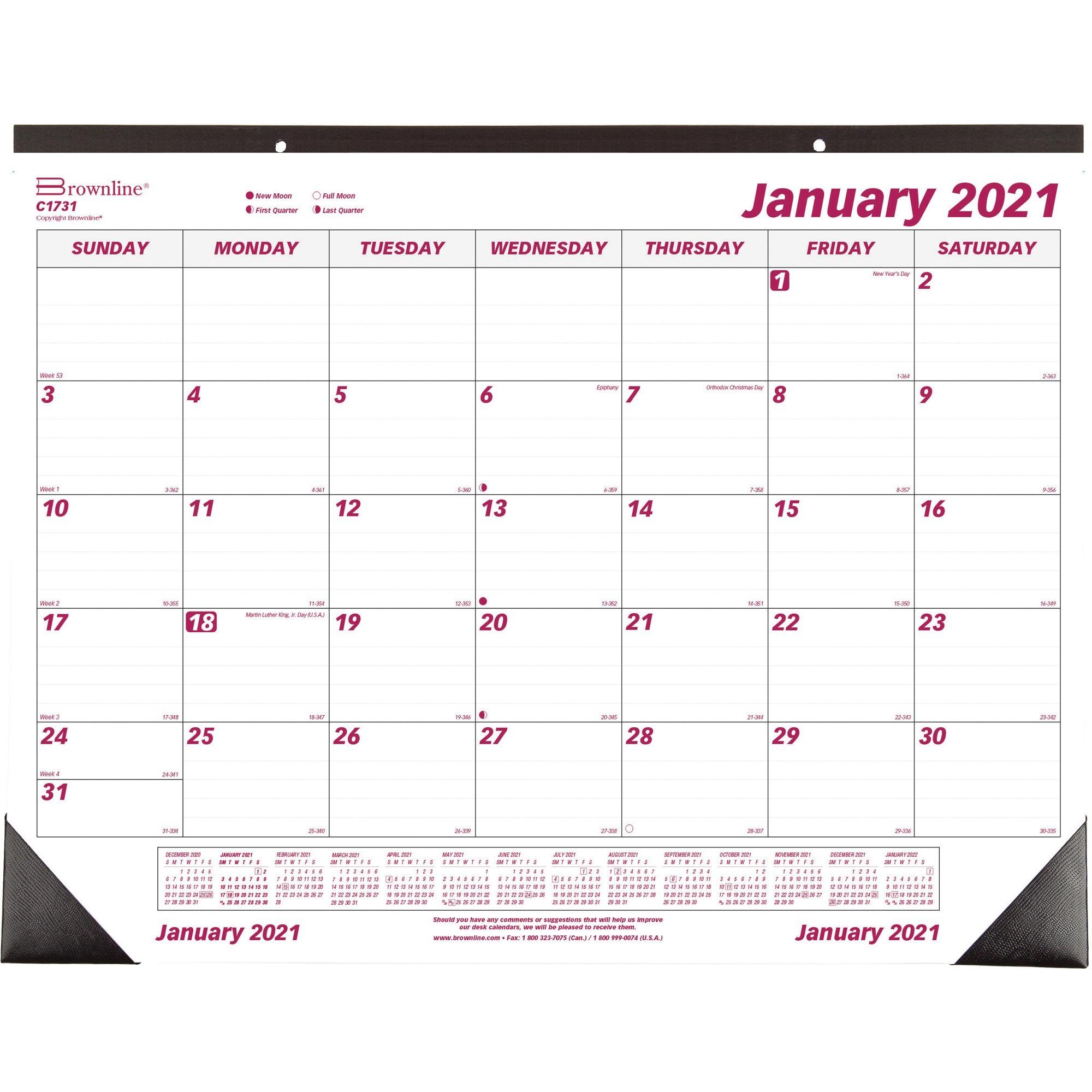 Brownline Professional Monthly Desk/Wall Calendar in 2021 Julian Calendar