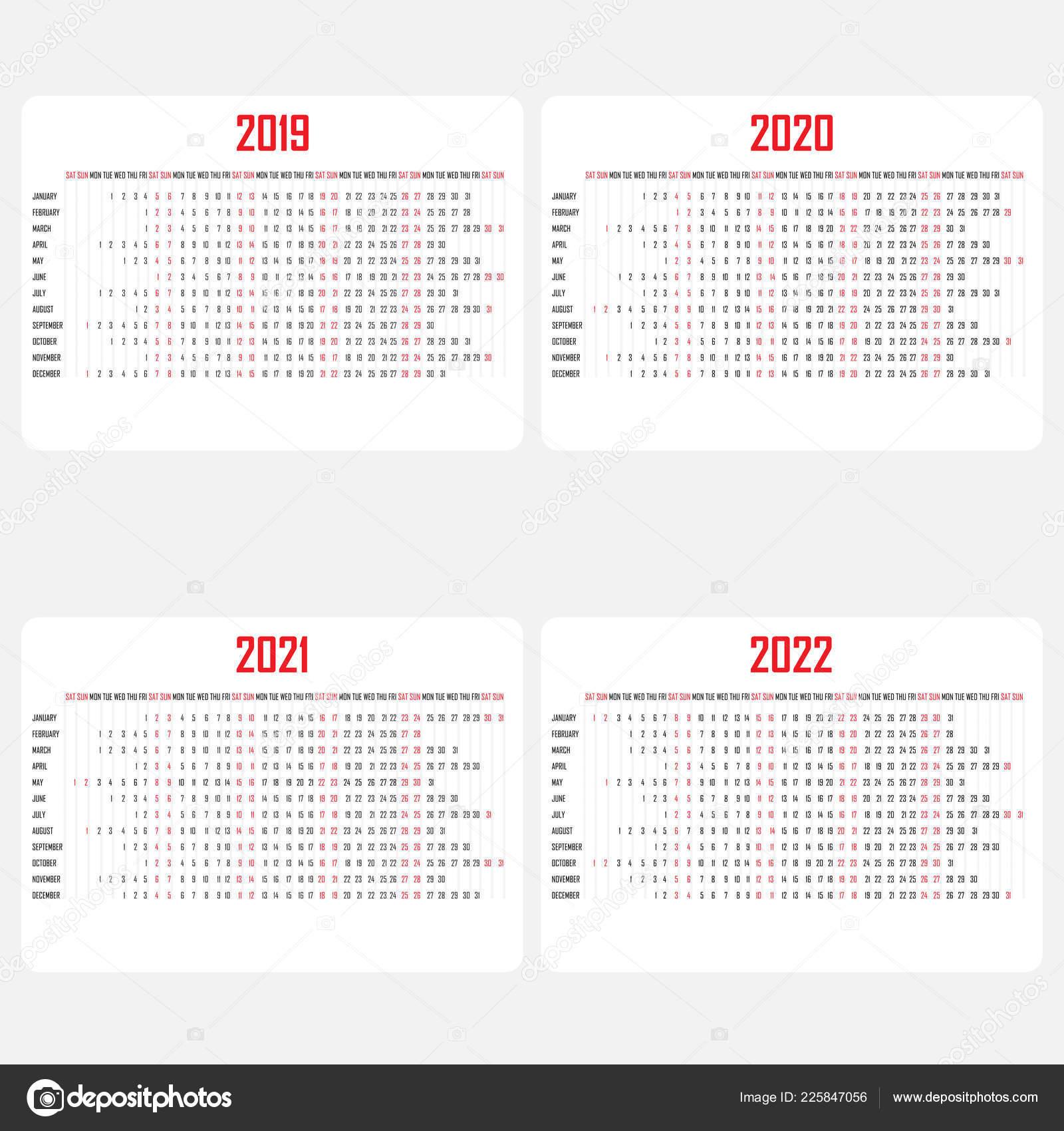 Calendar 2019,2020,2021 & 2022 Template.calendar Design.yearly Calendar  Vector Design Stationery Template.vector Illustration. 225847056 in Calendario 4-4-5 2021
