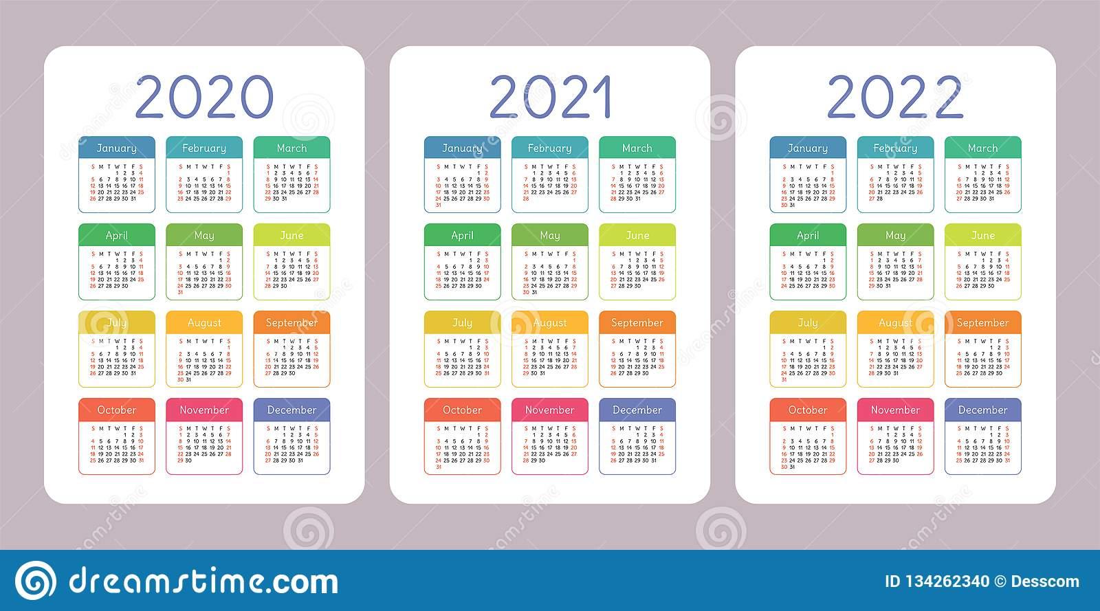 Calendar 2020, 2021, 2022 Years. Vertical Vector Calender inside Pocket Calendar 2021-2021: Two Year