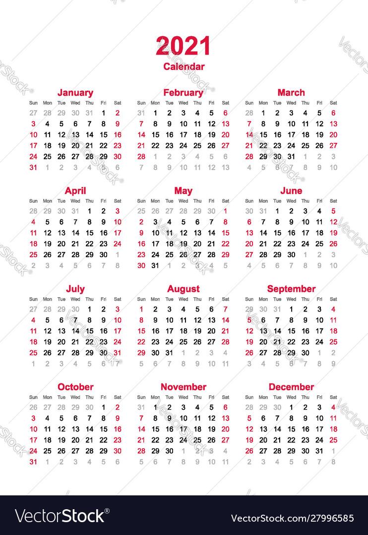 Calendar 2021 - 12 Months Yearly Calendar Vector Image with Calendar 2021 All Months