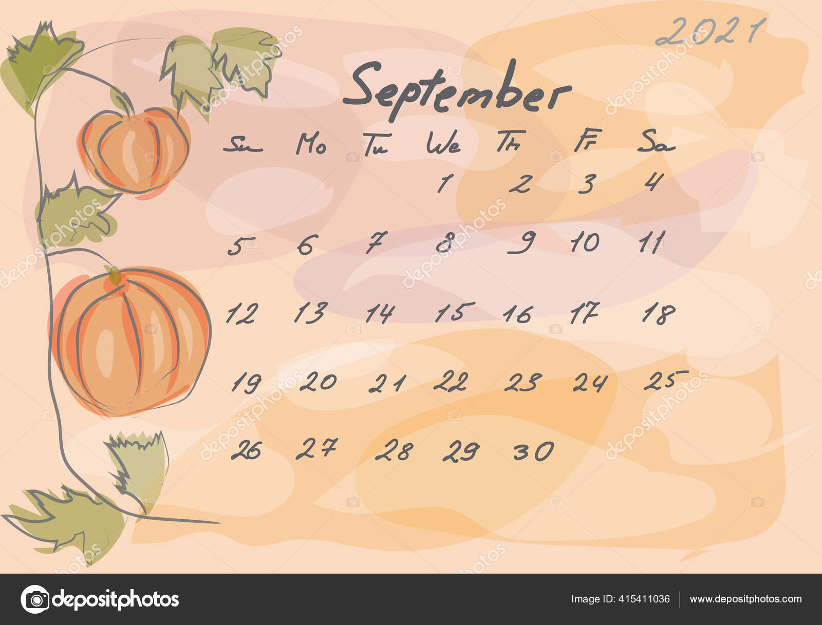 Calendar 2021. Abstact And Botanical. Watercolor Style. Sunday Starts  Handwritten Numbers And Letters. 415411036 for Depo Chart 2021