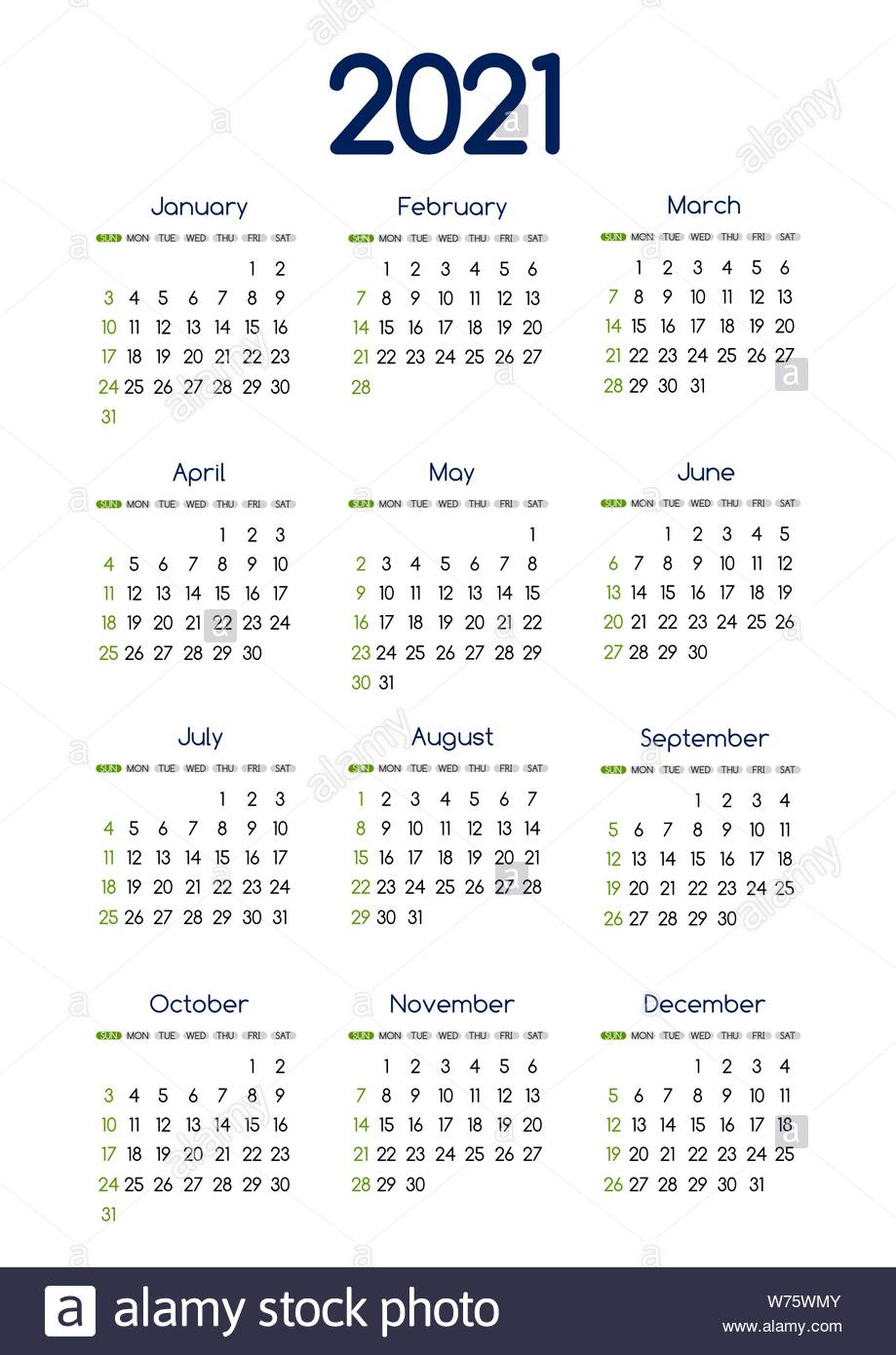 Calendar 2021 High Resolution Stock Photography And Images throughout 2021-2021 Monthly Planner: 2 Year