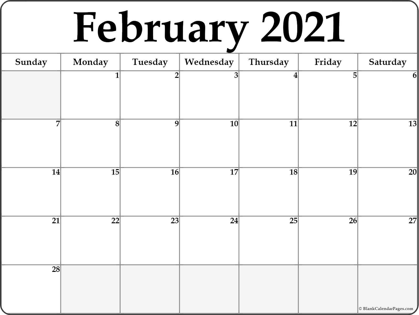 Calendar 2021 January February Blank In 2020 | February with regard to Printable Blank Fill In Monthly Calendar 2021