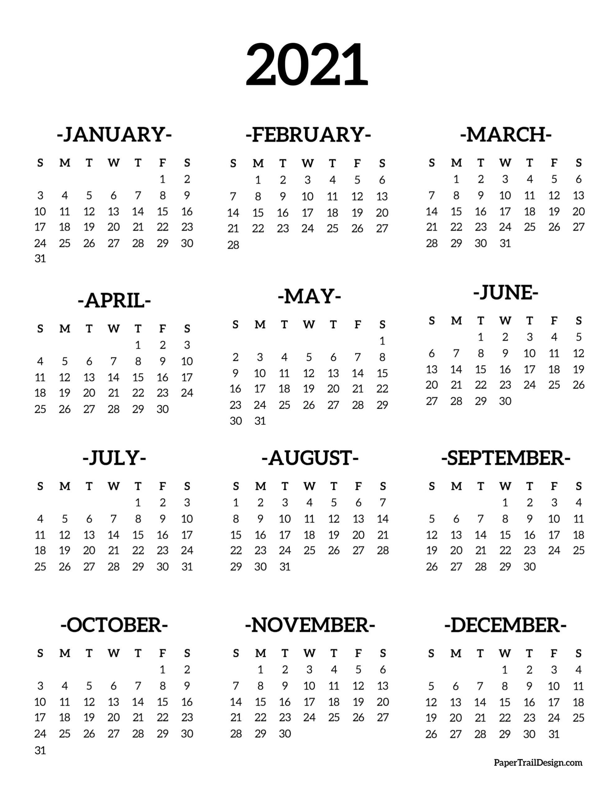 Calendar 2021 Printable One Page | Paper Trail Design regarding 2021 Printable Calendar With Boxes Yearly