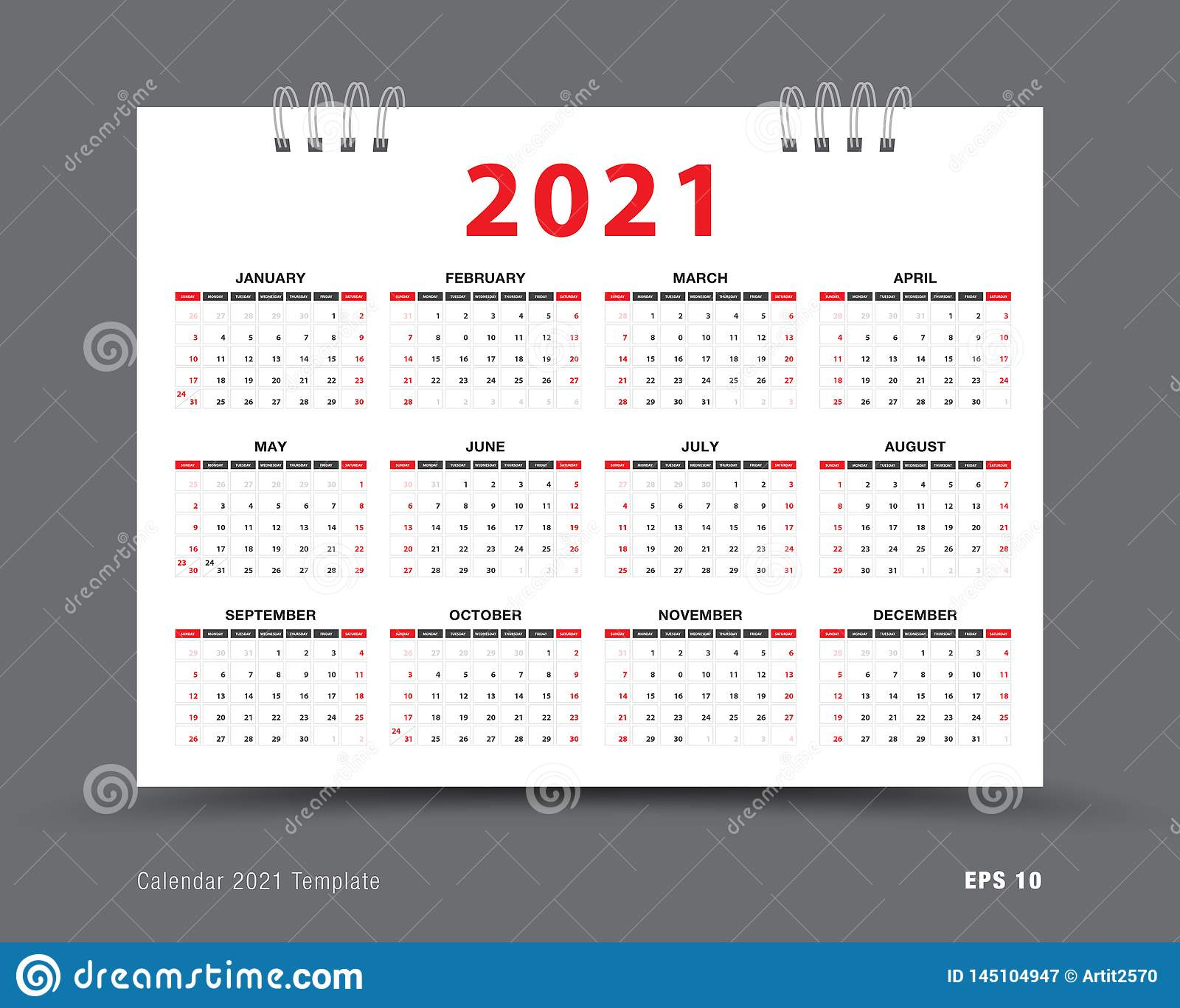 Calendar 2021 Template Layout, 12 Months Yearly Calendar Set in Printable Yearly Full Moon Calendar For 2021