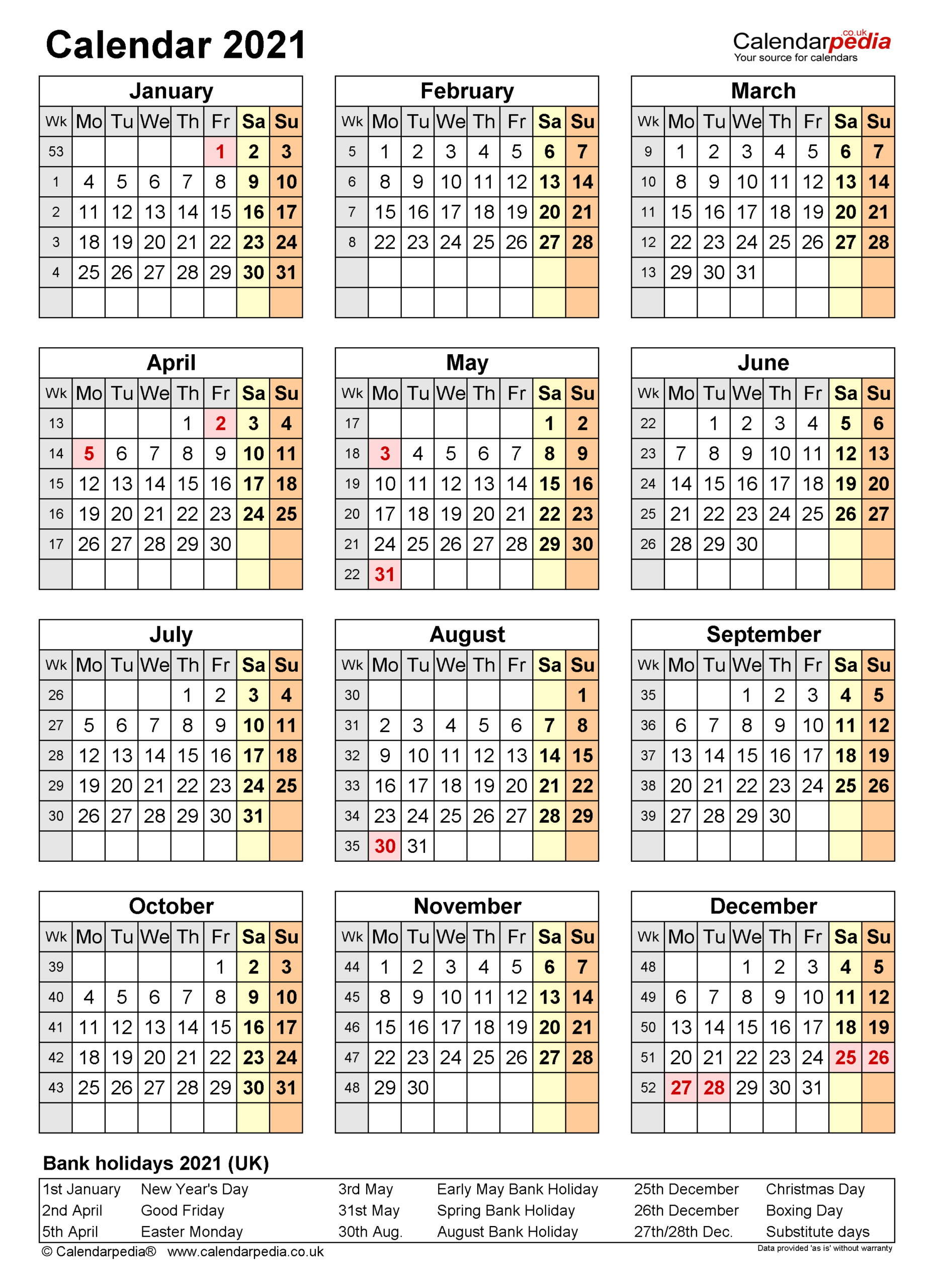 Calendar 2021 (Uk) - Free Printable Microsoft Word Templates inside Sunday To Saturday Year Calendar 2021/21