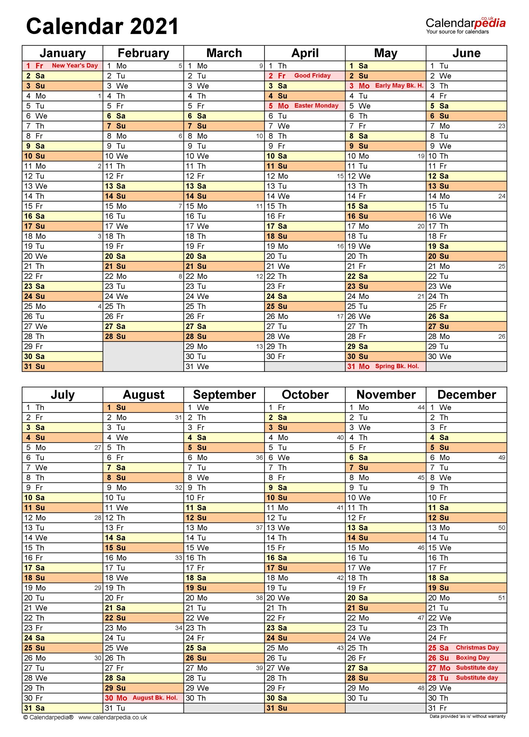 Calendar 2021 (Uk) - Free Printable Microsoft Word Templates regarding 2021-2021 Two Year Planner: 2 Year