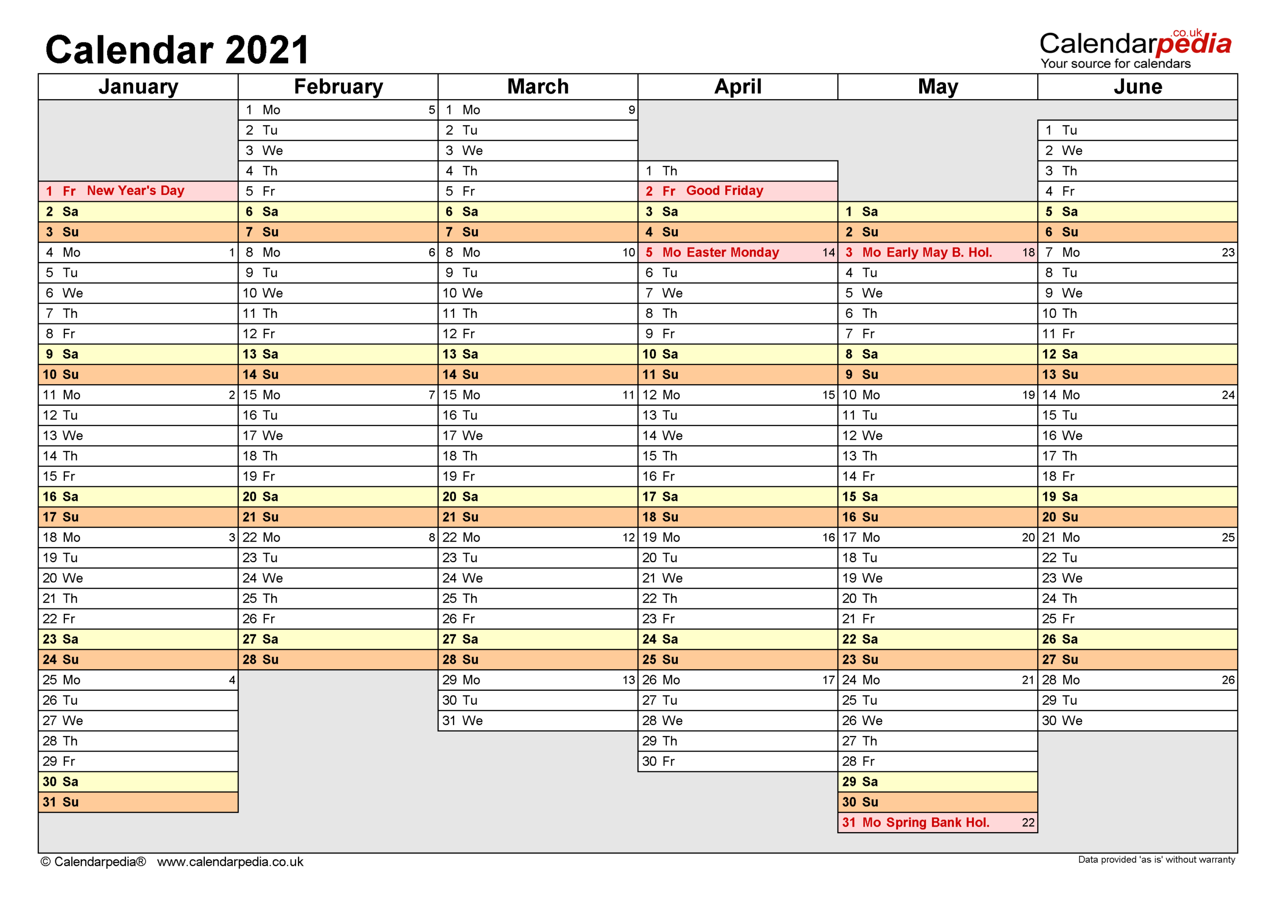Calendar 2021 (Uk) - Free Printable Pdf Templates for 2021-2021 Monthly Two Year Planner: