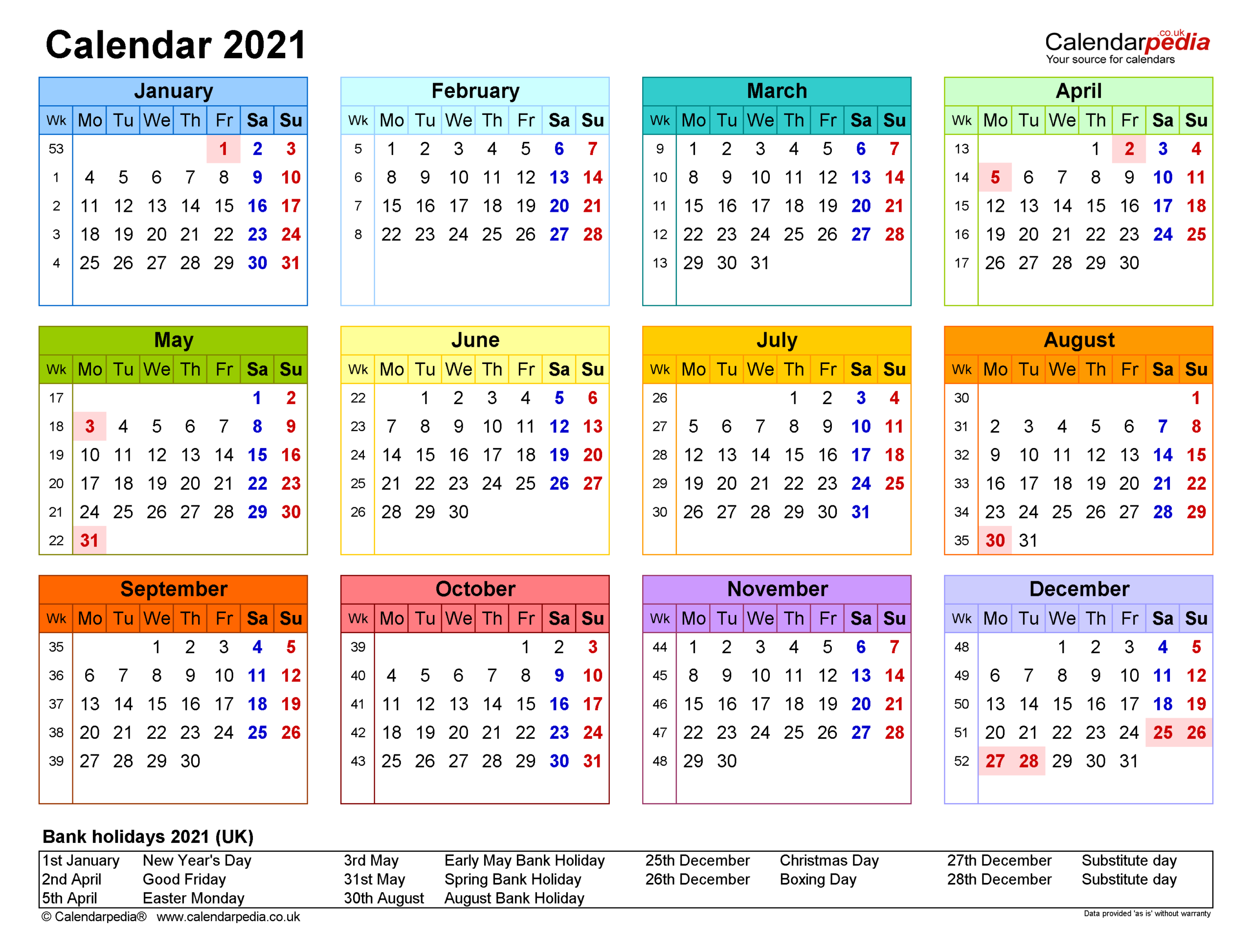 Calendar 2021 (Uk) - Free Printable Pdf Templates for Calendario Vertex 2021
