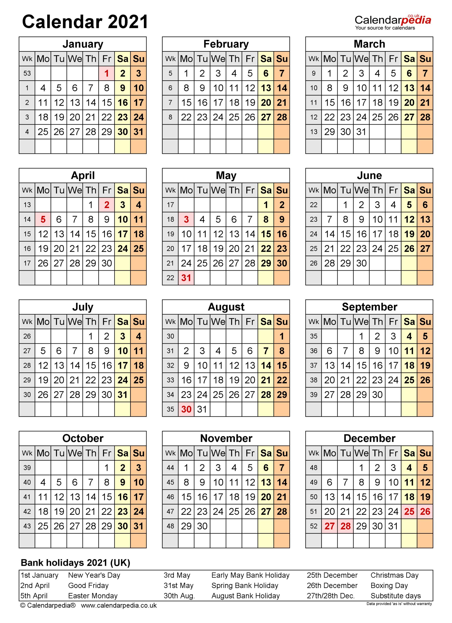 Calendar 2021 (Uk) - Free Printable Pdf Templates pertaining to Pocket Calendar 2021-2021: Two Year
