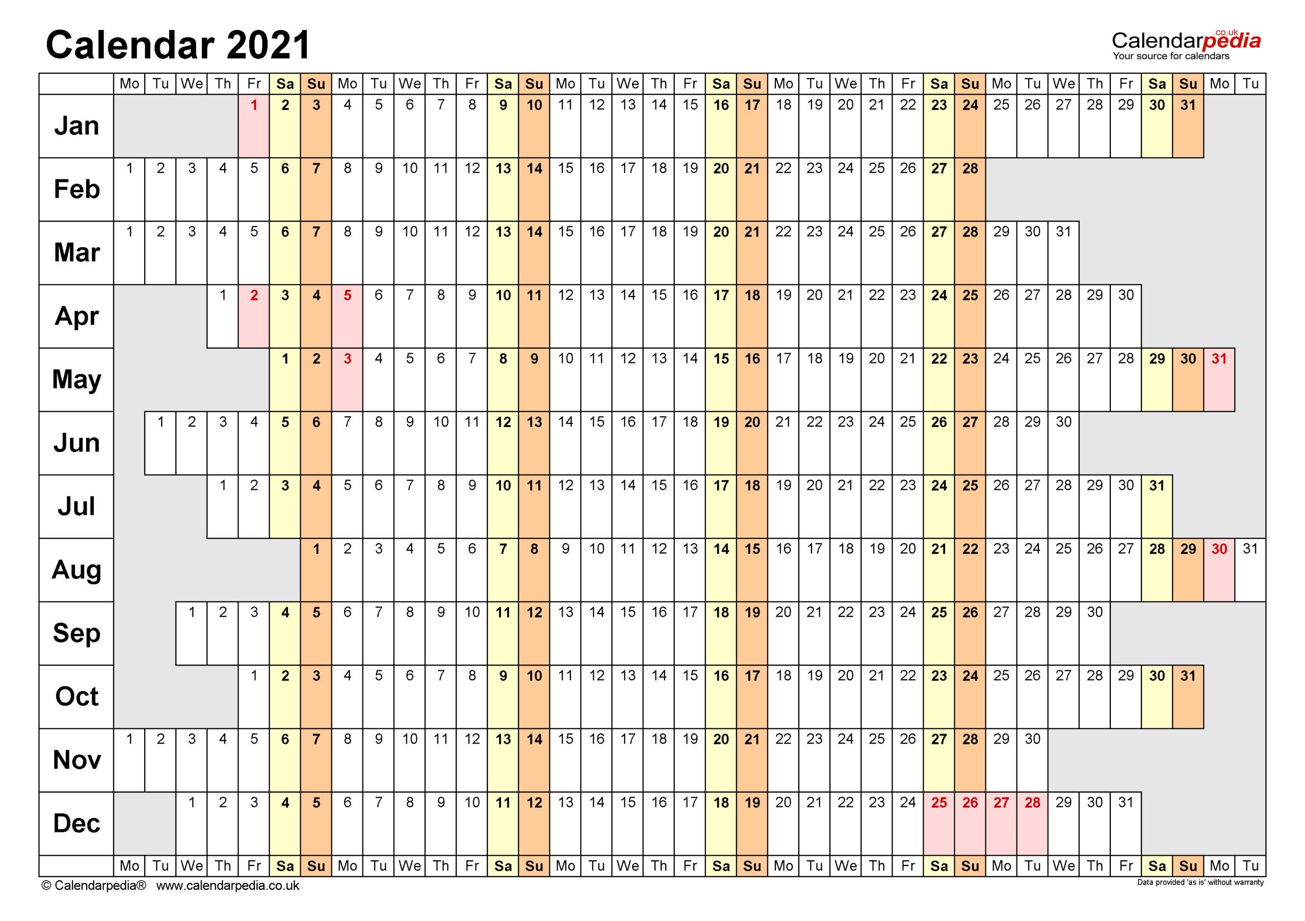 Calendar 2021 (Uk) - Free Printable Pdf Templates within 2021 Printable Yearly Calendar Template