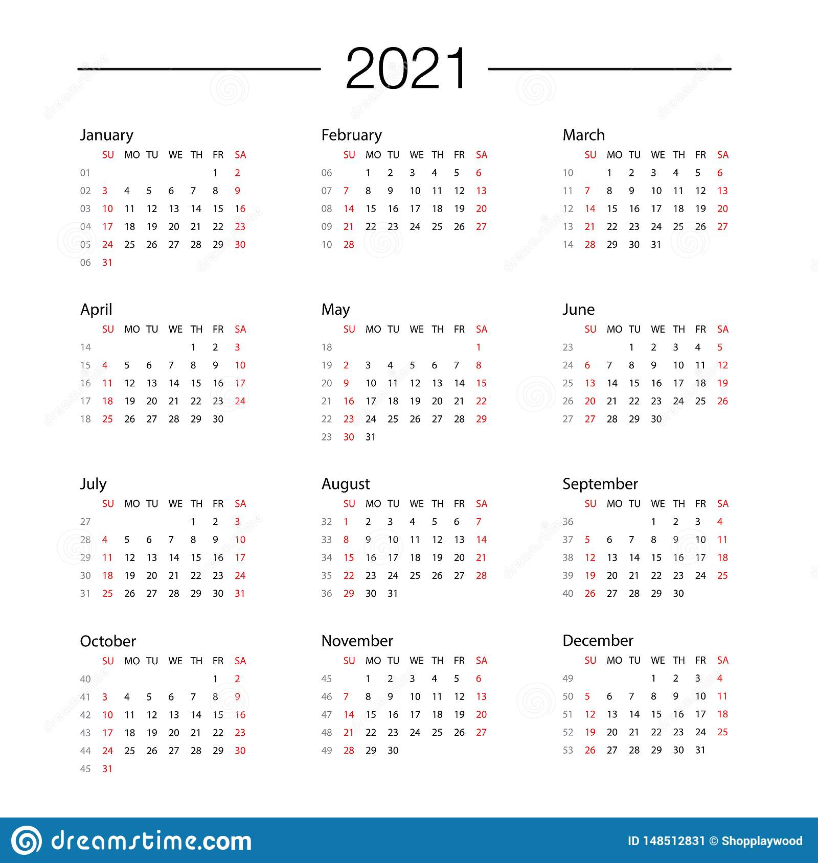 Calendar 2021 Year Template Day Planner In This Minimalist throughout Weekly Planner For 2021- 52 Weeks