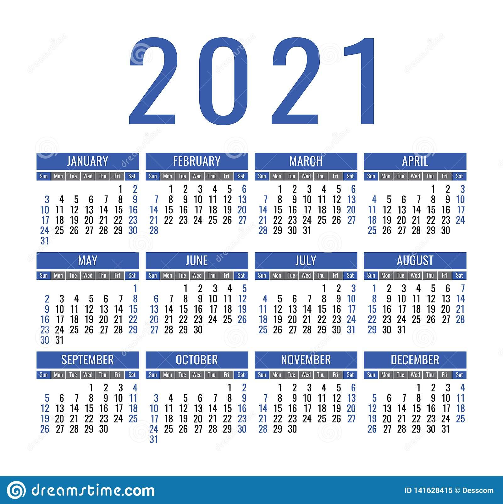 Calendar 2021 Year. Vector Pocket Or Wall Calender Template inside 2021 Pocket Calendar Template